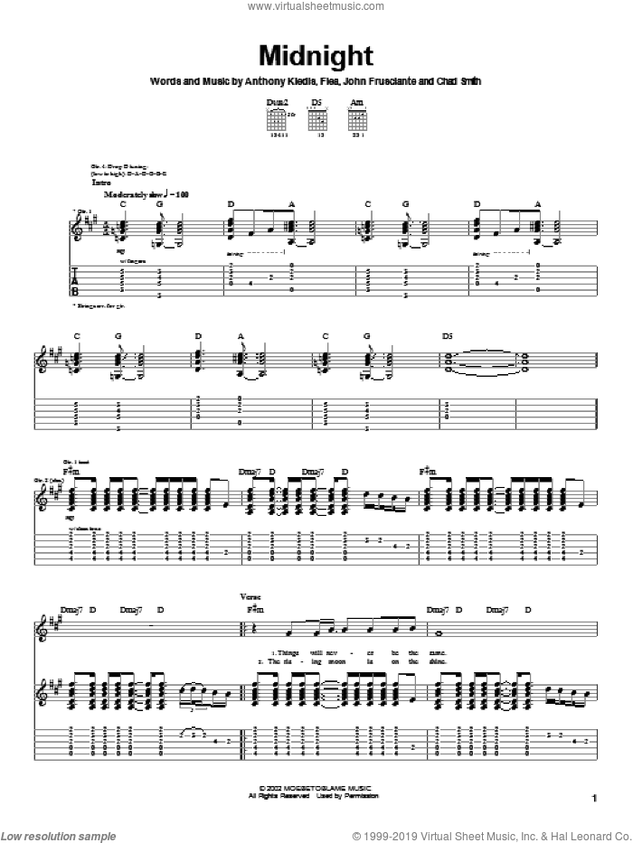 Midnight sheet music for guitar (tablature) by Red Hot Chili Peppers. Score Image Preview.