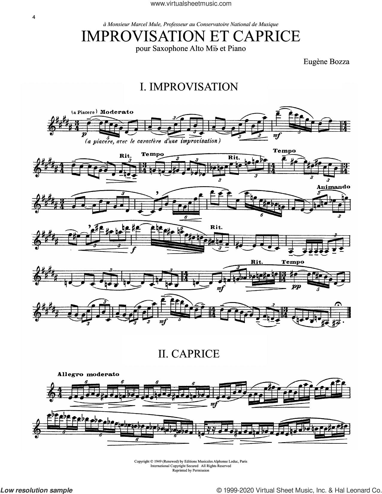 Improvisation Et Caprice sheet music for alto saxophone solo by Eugene Bozza, Nicole Roman and Eugene Bozza, classical score, intermediate skill level