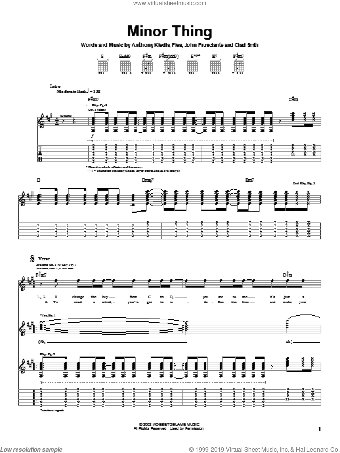 Minor Thing sheet music for guitar (tablature) by John Frusciante, Red Hot Chili Peppers and Flea. Score Image Preview.