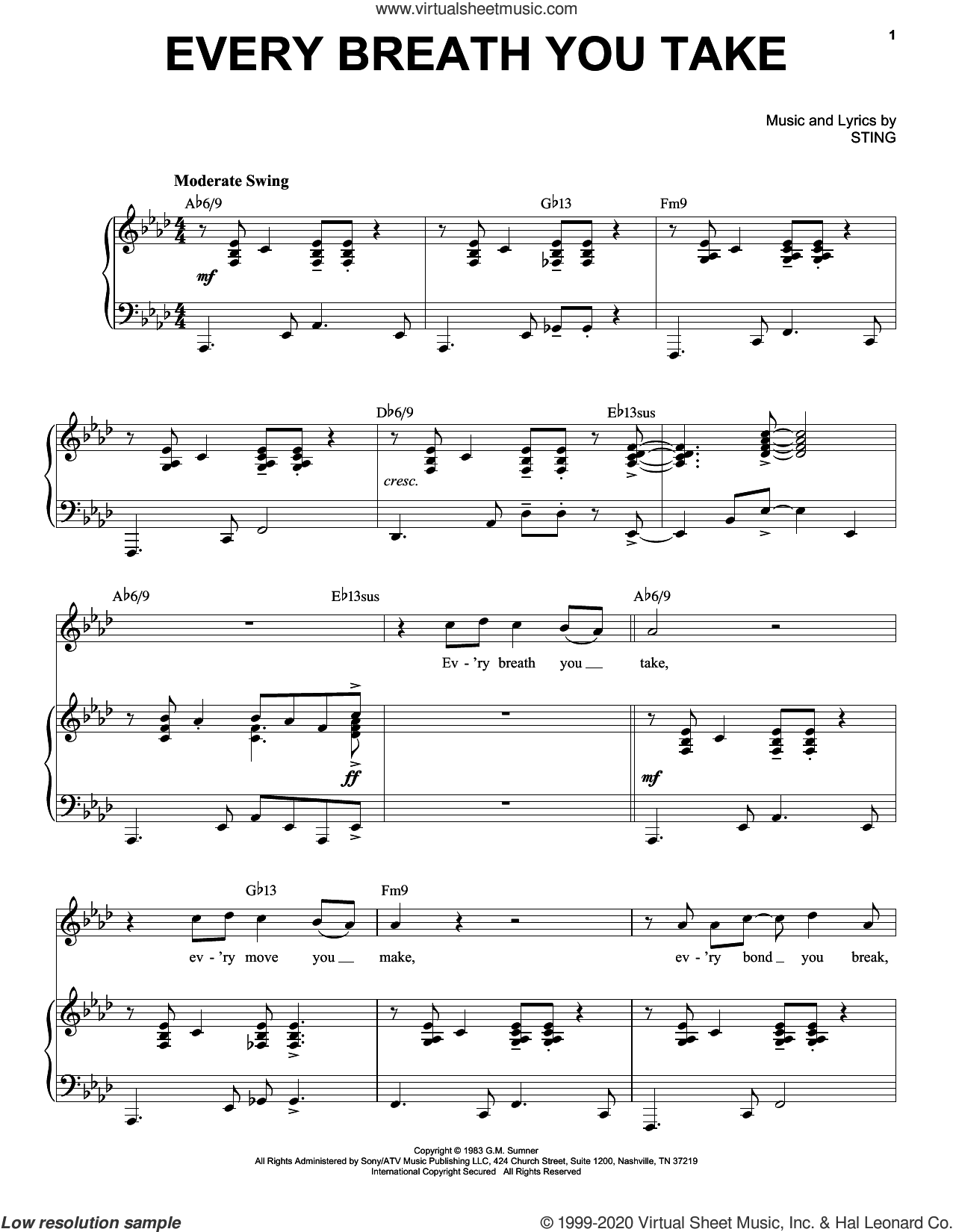 Every Breath You Take [Jazz version] (arr. Brent Edstrom) sheet music for voice and piano (High Voice) by The Police and Sting, intermediate skill level