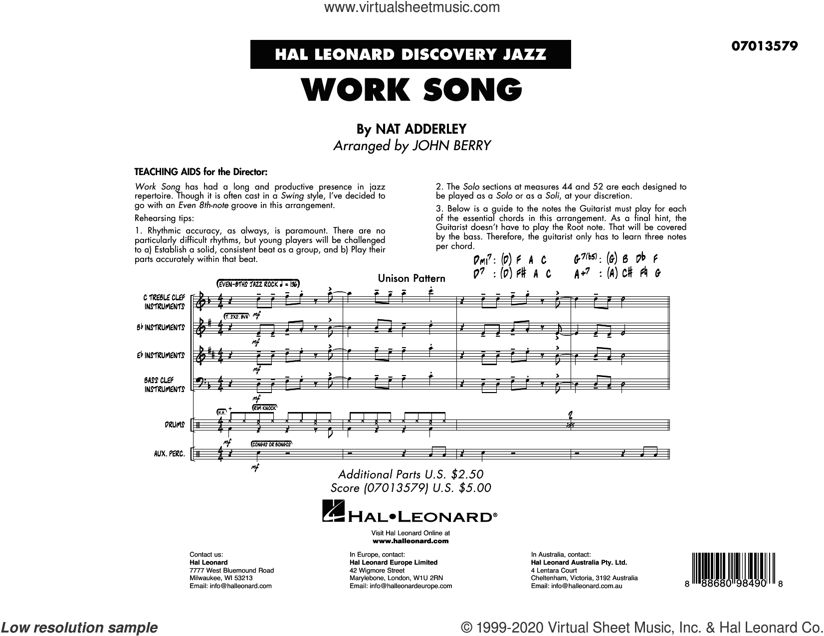 Work Song (arr. John Berry) (COMPLETE) sheet music for jazz band by John Berry, Cannonball Adderley, Nat Adderley and Oscar Brown, Jr., intermediate skill level