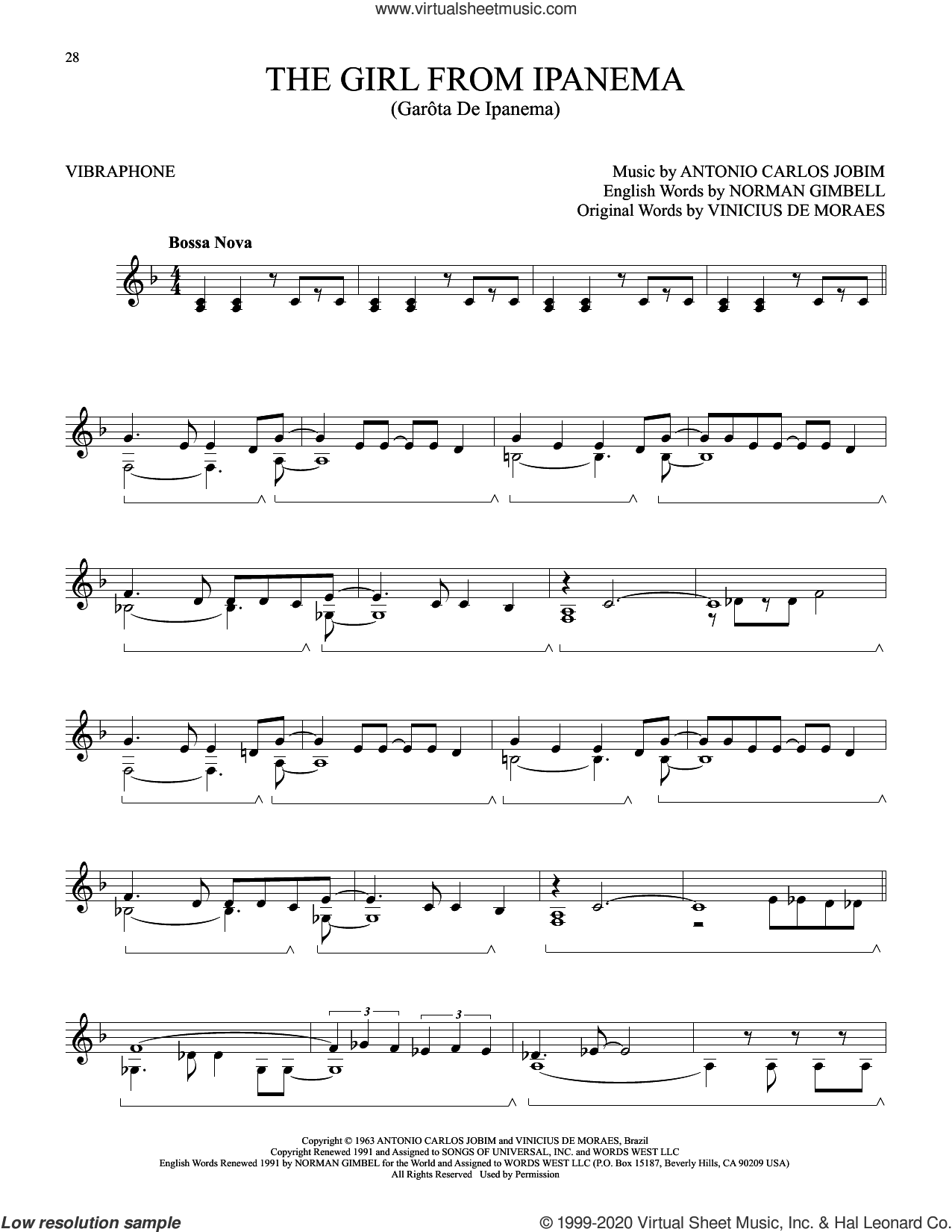 The Girl From Ipanema (Garota De Ipanema) sheet music for Vibraphone Solo by Norman Gimbel, Antonio Carlos Jobim and Vinicius de Moraes, intermediate skill level