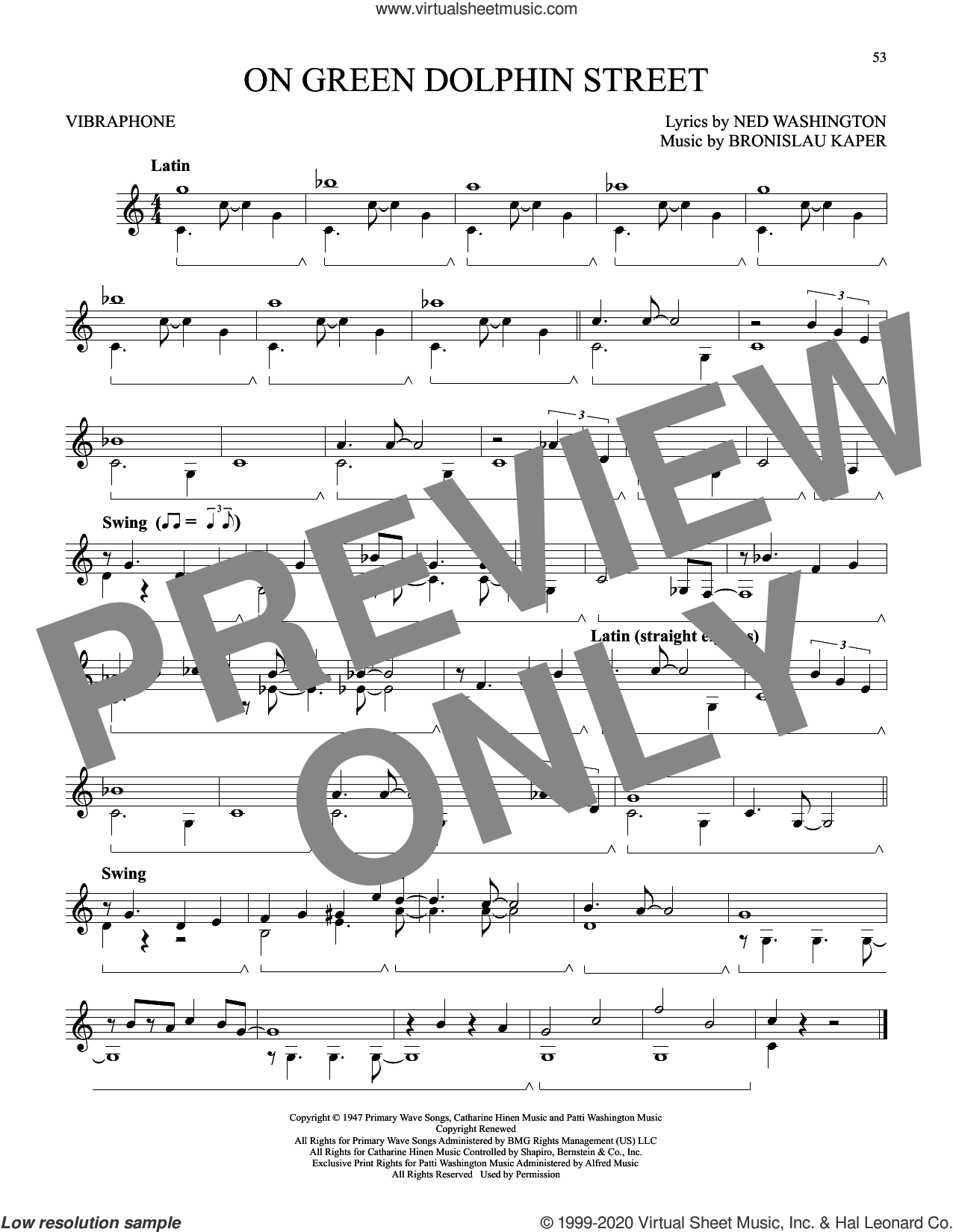 On Green Dolphin Street sheet music for Vibraphone Solo by Ned Washington and Bronislau Kaper, intermediate skill level