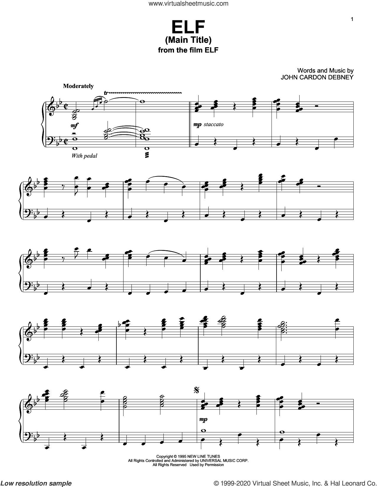 Elf (Main Title) sheet music for piano solo by John Cardon Debney, intermediate skill level
