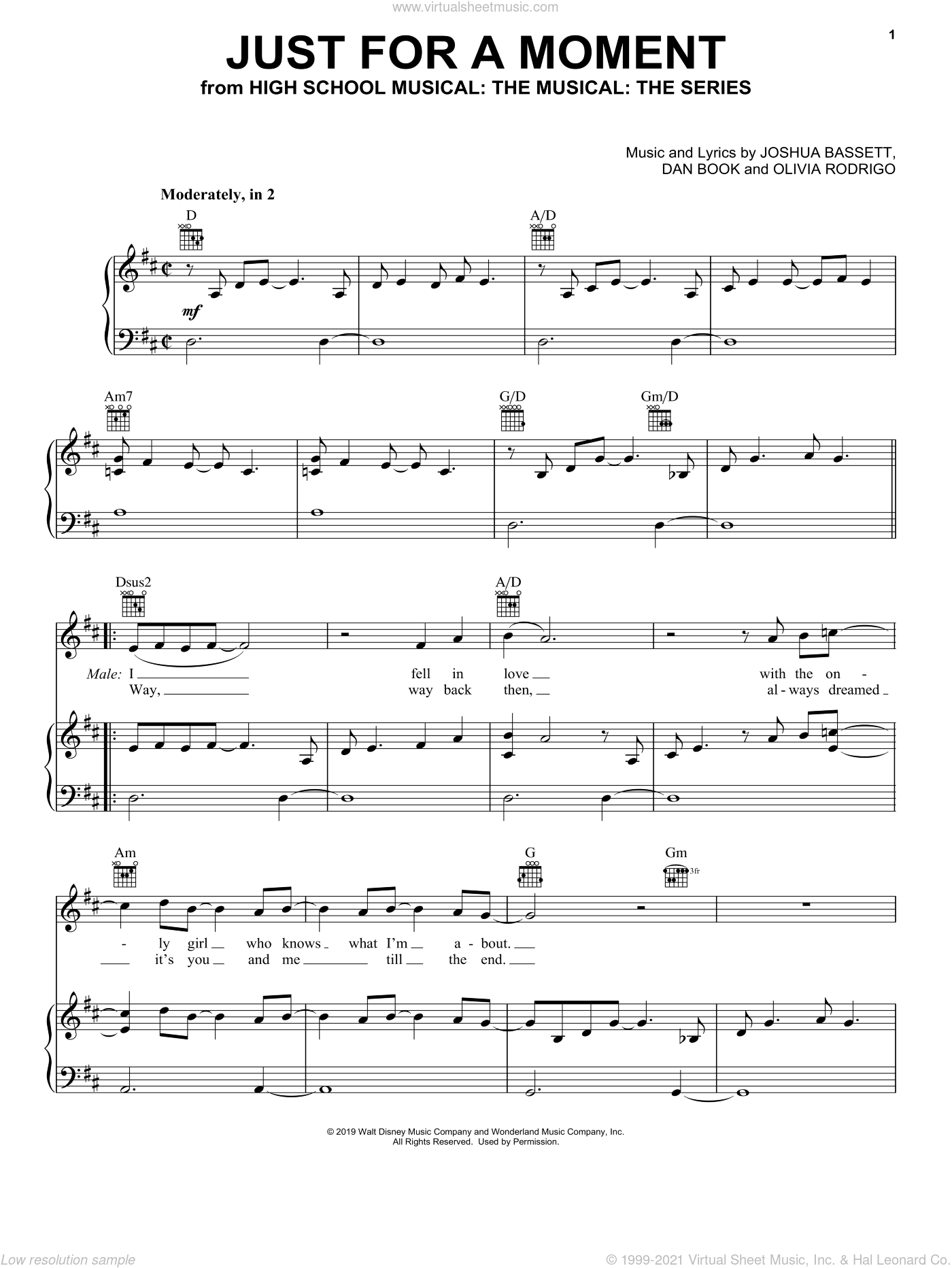 Just For A Moment (from High School Musical: The Musical: The Series) sheet music for voice, piano or guitar by Olivia Rodrigo & Joshua Bassett, Dan Book, Joshua Bassett and Olivia Rodrigo, intermediate skill level
