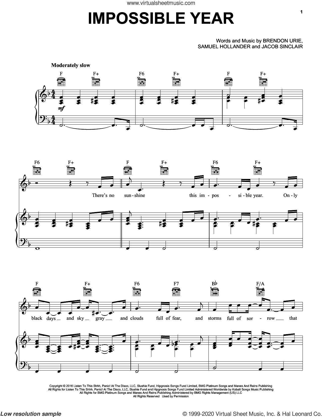 Impossible Year sheet music for voice, piano or guitar by Panic! At The Disco, Brendon Urie, Jacob Sinclair and Sam Hollander, intermediate skill level