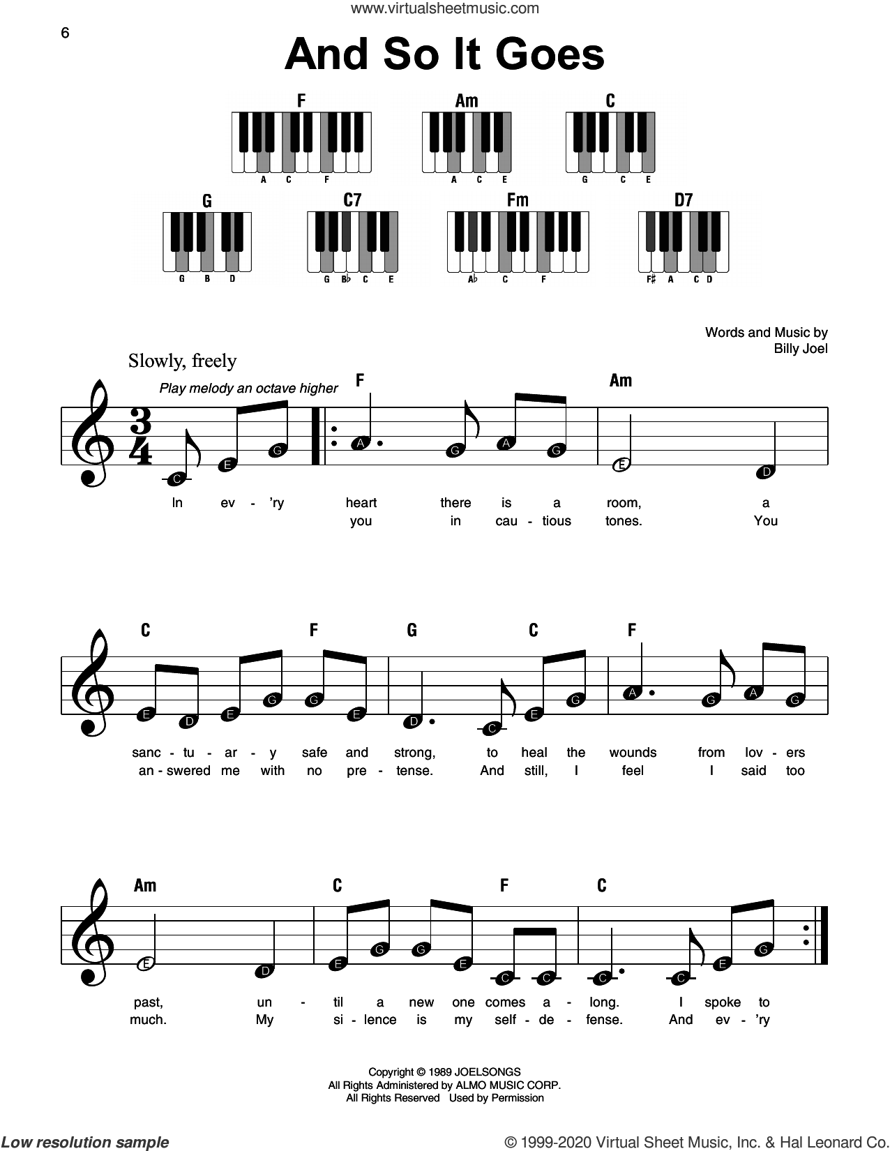 And So It Goes sheet music for piano solo by Billy Joel, beginner skill level