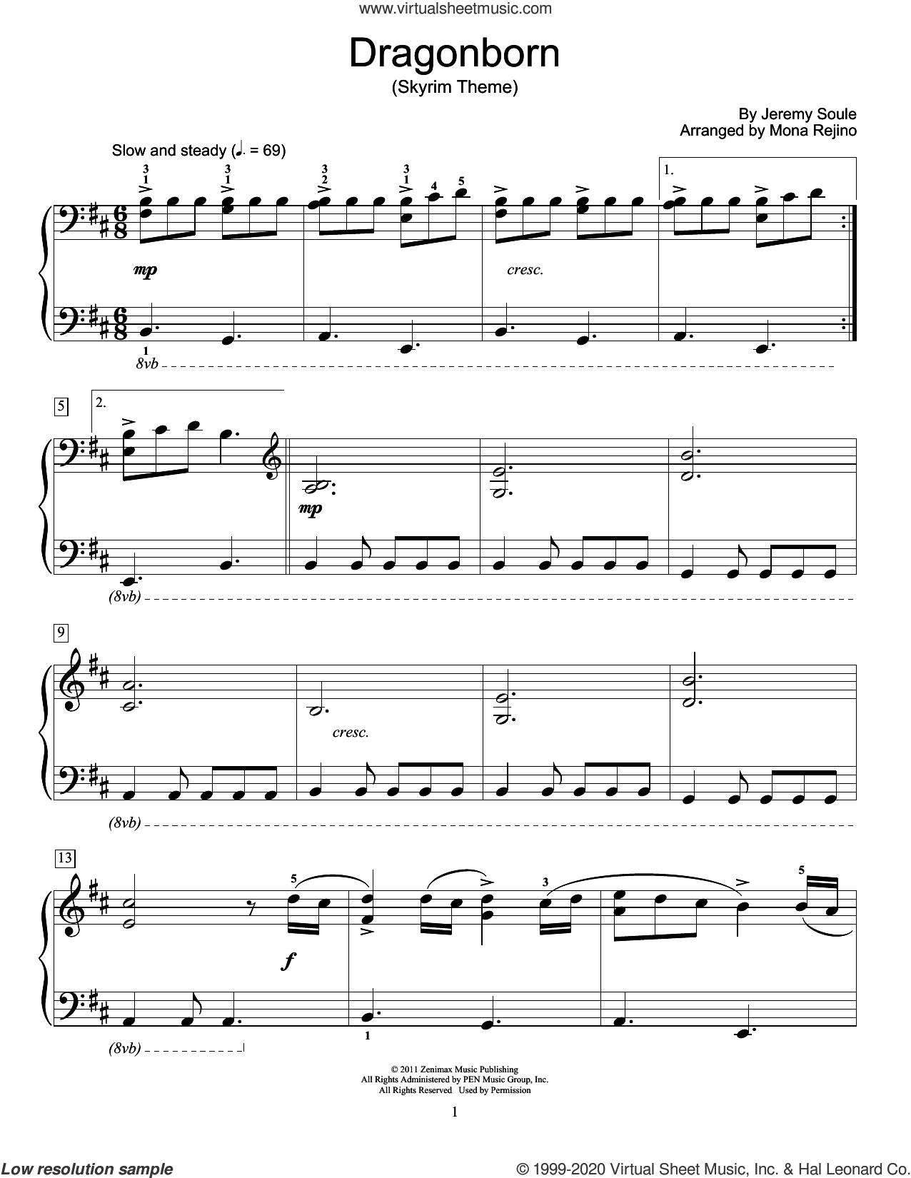 Dragonborn (Skyrim Theme) (arr. Mona Rejino) sheet music for piano solo (elementary) by Jeremy Soule and Mona Rejino, beginner piano (elementary)