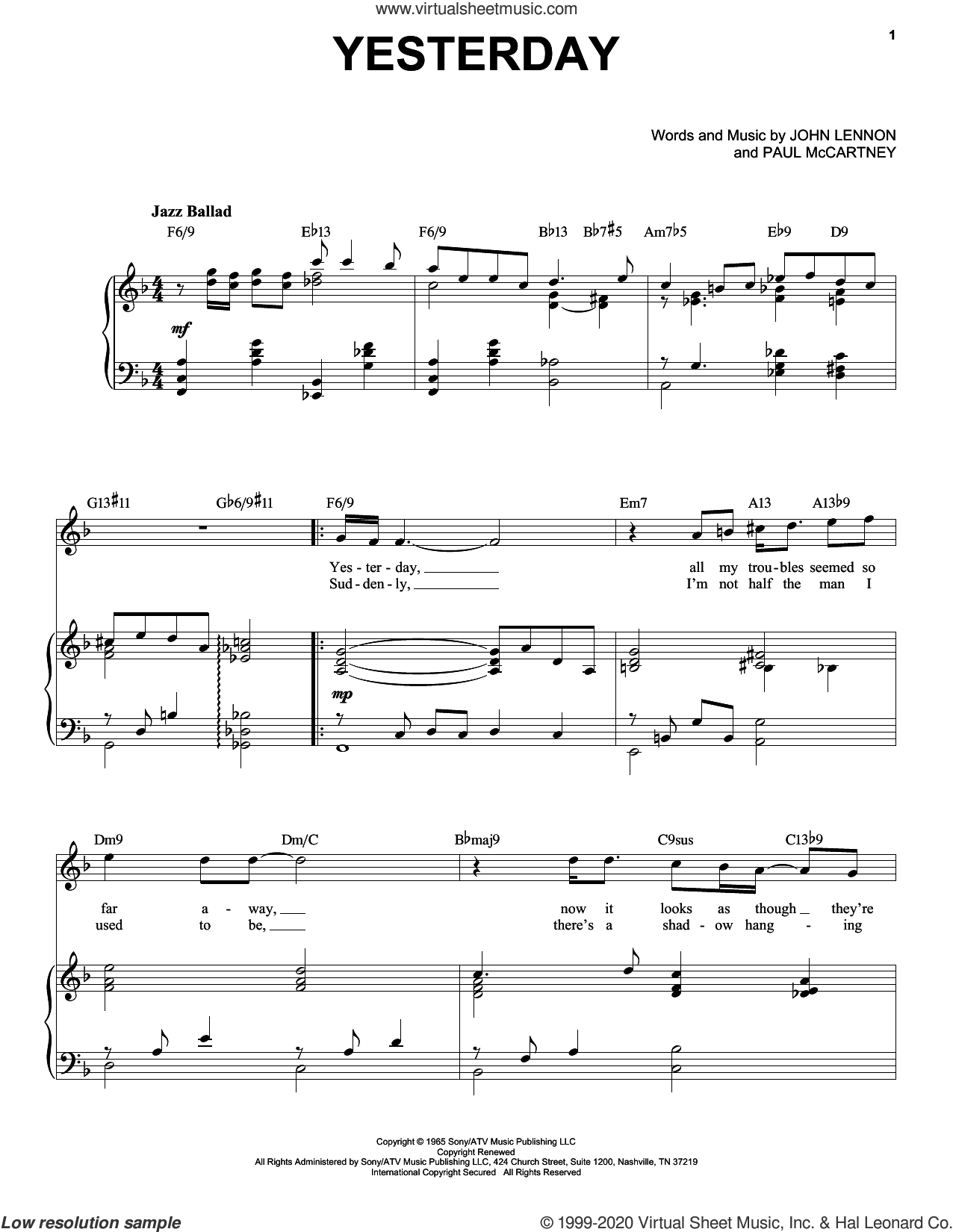 Yesterday [Jazz version] (arr. Brent Edstrom) sheet music for voice and piano (High Voice) by The Beatles, John Lennon and Paul McCartney, intermediate skill level