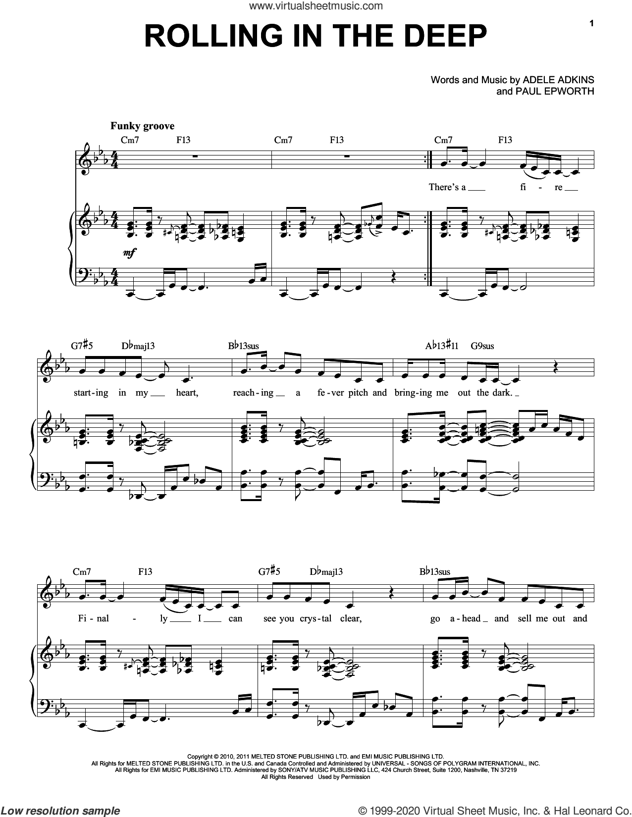 Rolling In The Deep [Jazz version] (arr. Brent Edstrom) sheet music for voice and piano (High Voice) by Adele, Adele Adkins and Paul Epworth, intermediate skill level