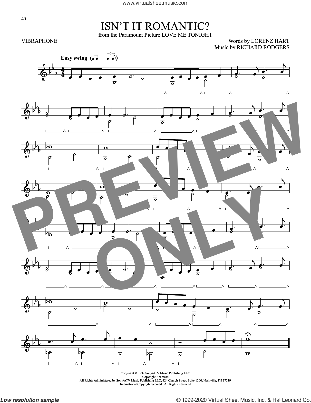 Isn't It Romantic? (from Love Me Tonight) sheet music for Vibraphone Solo by Richard Rodgers, Lorenz Hart and Rodgers & Hart, intermediate skill level