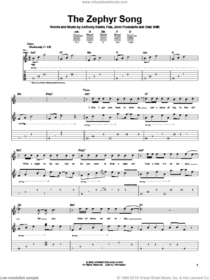 The Zephyr Song sheet music for guitar (tablature) by Red Hot Chili Peppers, intermediate. Score Image Preview.