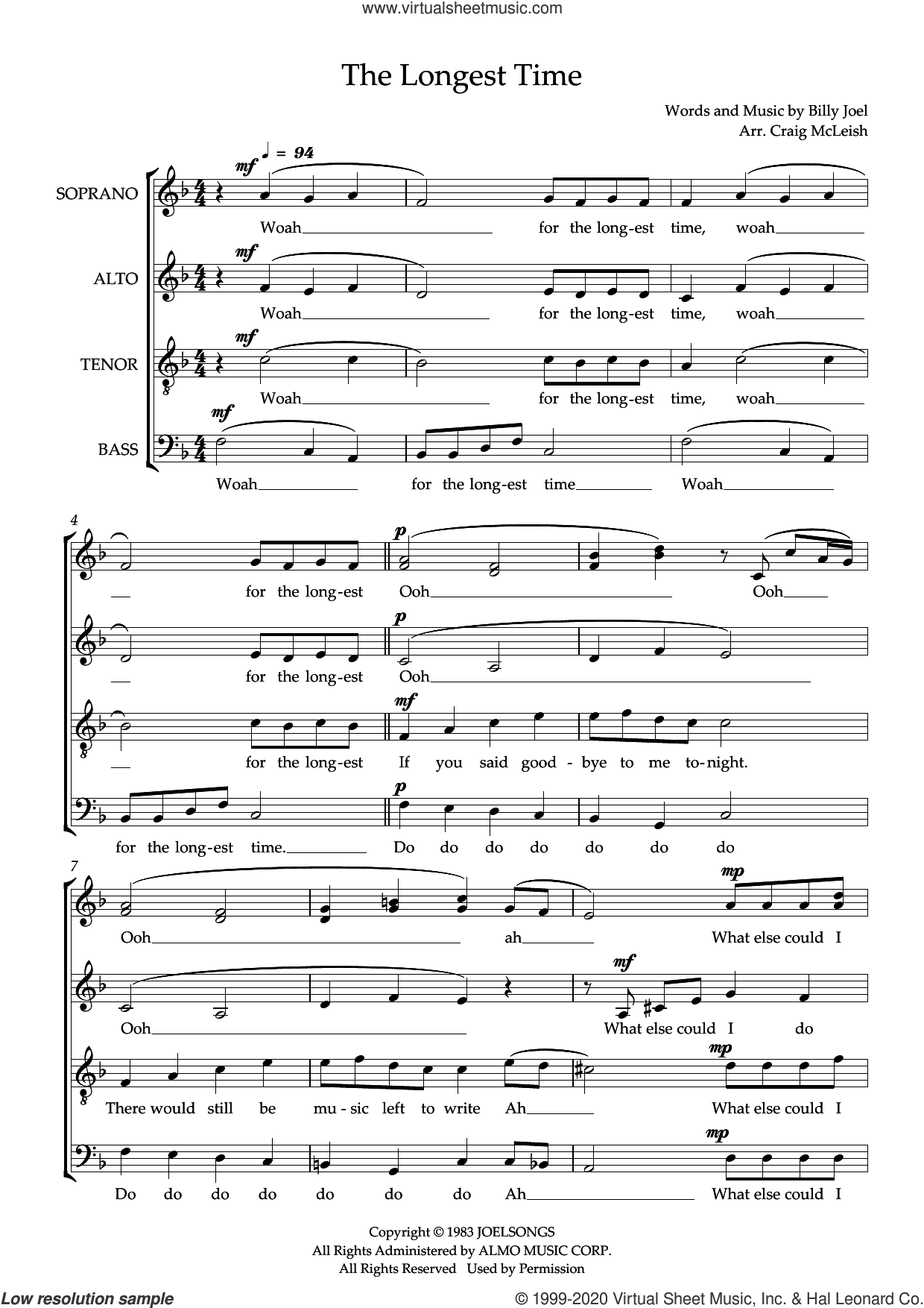 The Longest Time (arr. Craig McLeish) sheet music for choir (SSATB) by Billy Joel and Craig McLeish, intermediate skill level