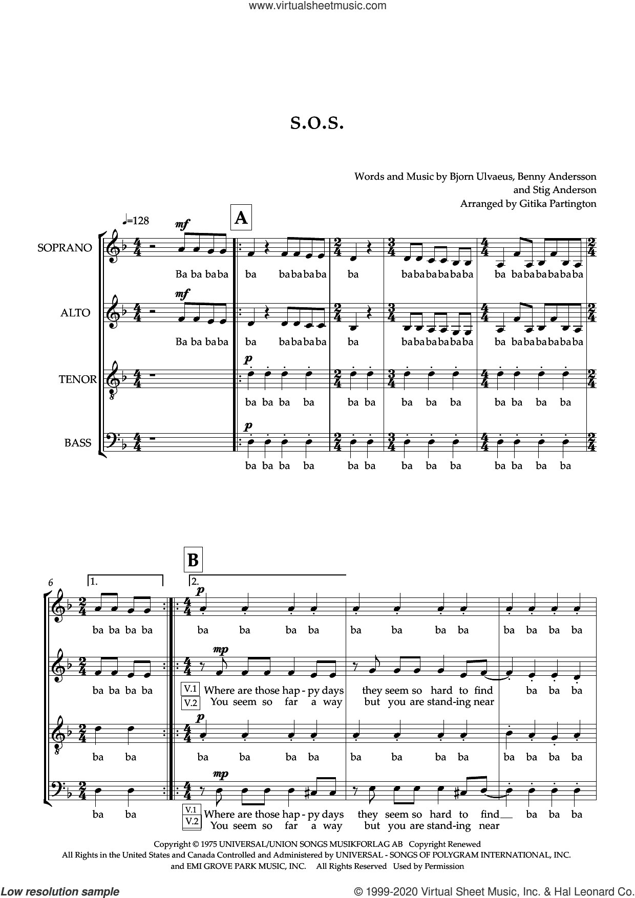 S.O.S. (arr. Gitika Partington) sheet music for choir (SATB: soprano, alto, tenor, bass) by ABBA, Gitika Partington, Benny Andersson, Bjorn Ulvaeus and Stig Anderson, intermediate skill level
