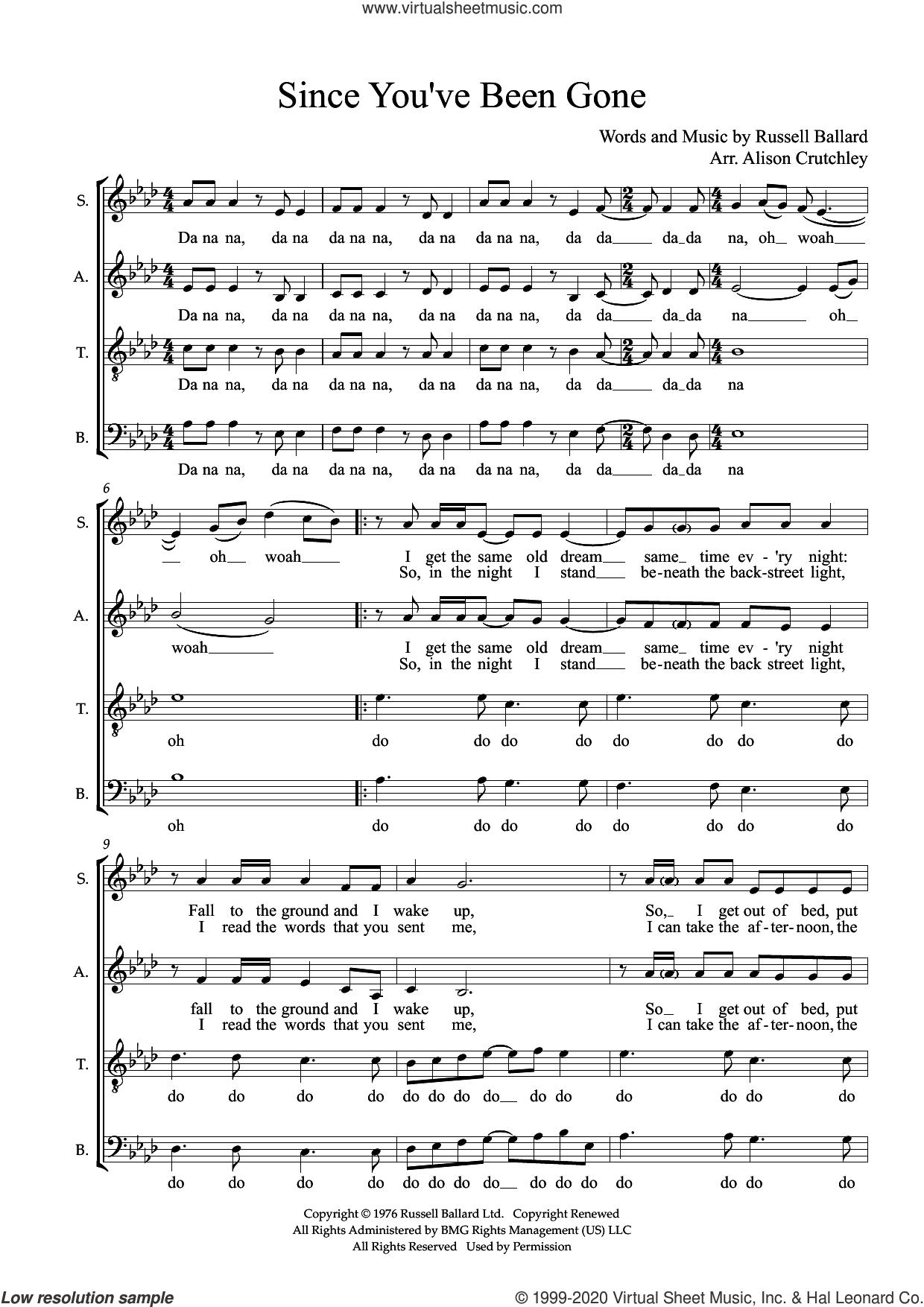 Since You've Been Gone (arr. Alison Crutchley) sheet music for choir (SATB: soprano, alto, tenor, bass) by Rainbow, Alison Crutchley and Russ Ballard, intermediate skill level