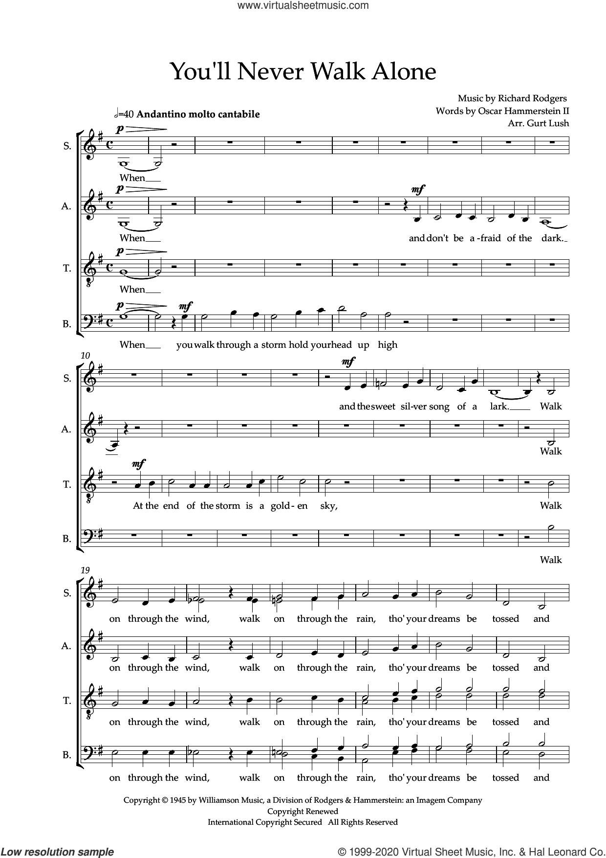 You'll Never Walk Alone (arr. Sam Burns) sheet music for choir (SATB: soprano, alto, tenor, bass) by Richard Rodgers, Sam Burns, Oscar II Hammerstein and Rodgers & Hammerstein, intermediate skill level