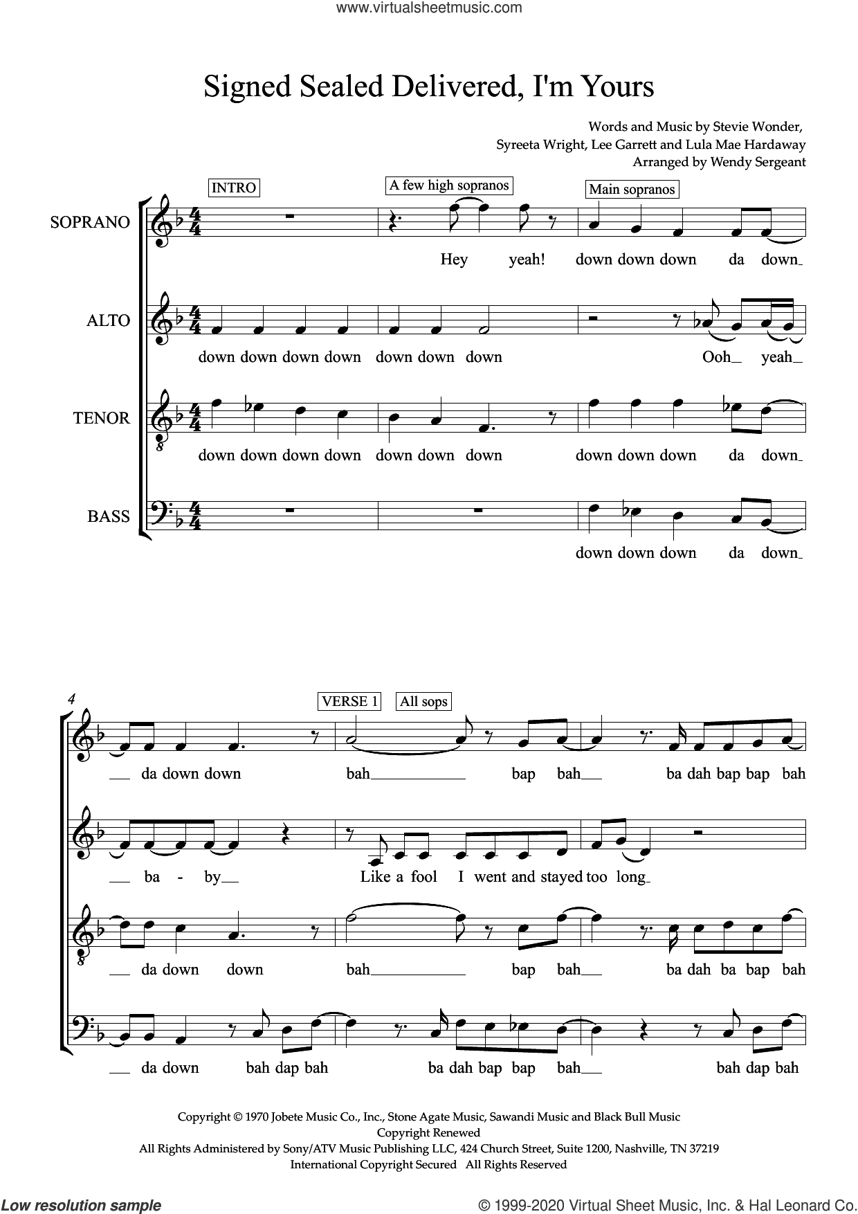 Signed, Sealed, Delivered I'm Yours (arr. Wendy Sergeant) sheet music for choir (SATB: soprano, alto, tenor, bass) by Stevie Wonder, Wendy Sergeant, Lee Garrett, Lula Mae Hardaway and Syreeta Wright, intermediate skill level