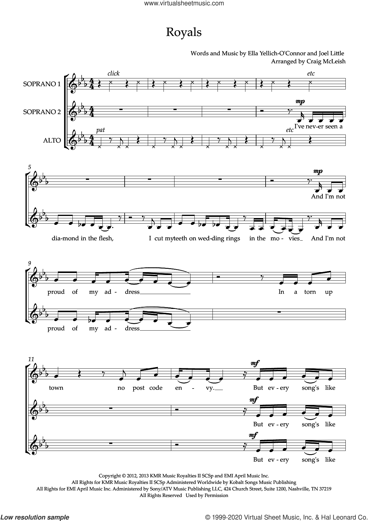 Royals (arr. Craig McLeish) sheet music for choir (SSA: soprano, alto) by Lorde, Craig McLeish and Joel Little, intermediate skill level