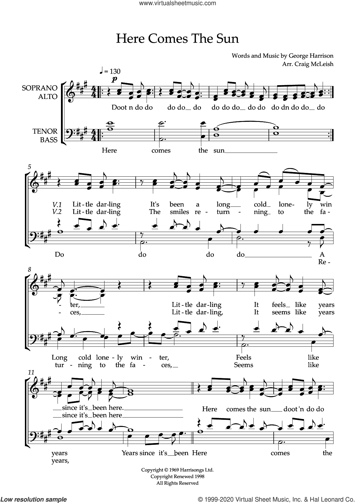 Here Comes The Sun (arr. Craig McLeish) sheet music for choir (SATB: soprano, alto, tenor, bass) by The Beatles, Craig McLeish and George Harrison, intermediate skill level