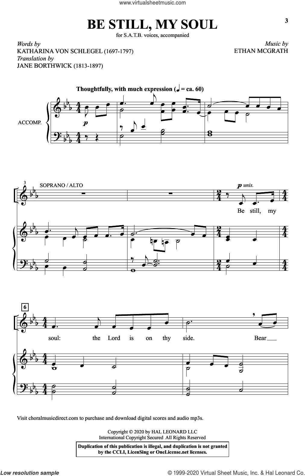 Be Still, My Soul sheet music for choir (SATB: soprano, alto, tenor, bass) by Ethan McGrath, Katharina von Schlegel and Katharina Von Schlegel and Ethan McGrath, intermediate skill level