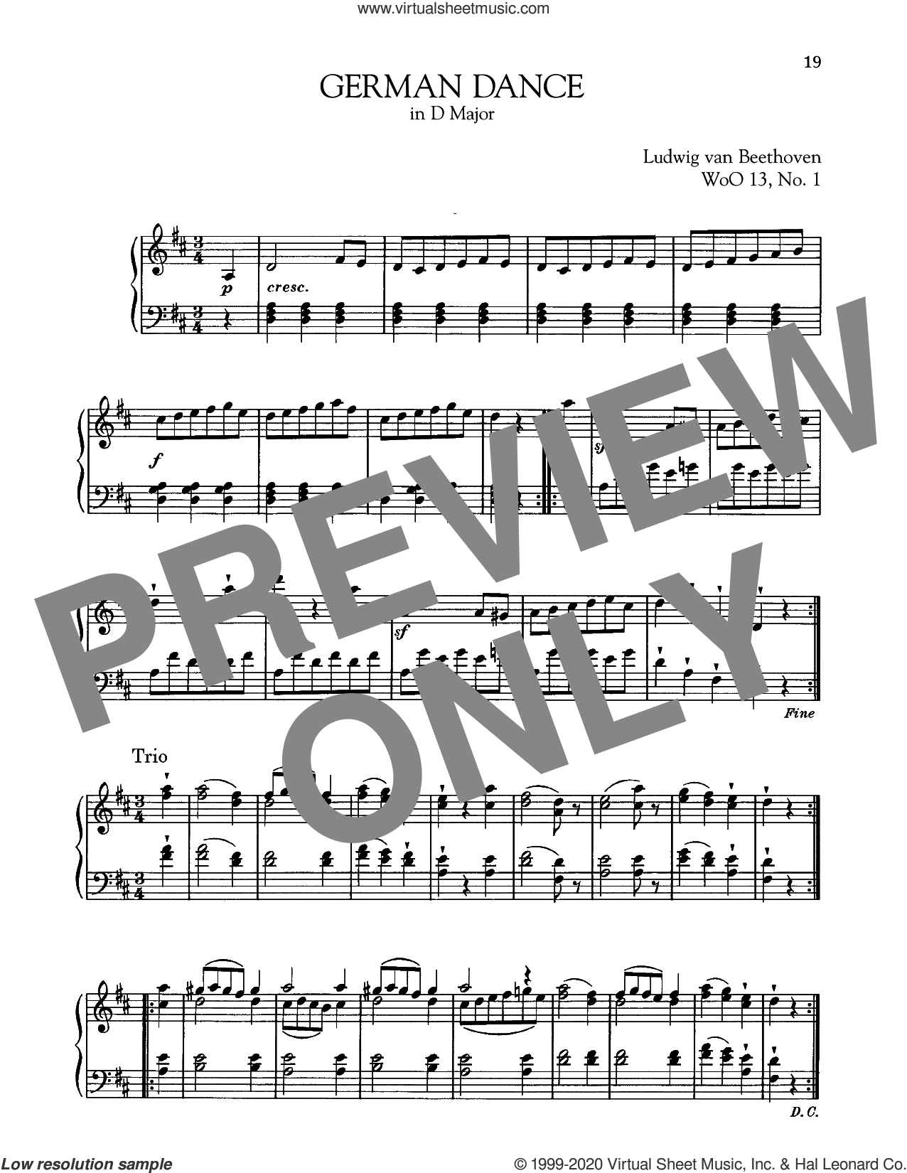 German Dance In D Major, WoO 13, No. 1 sheet music for piano solo by Ludwig van Beethoven, classical score, intermediate skill level