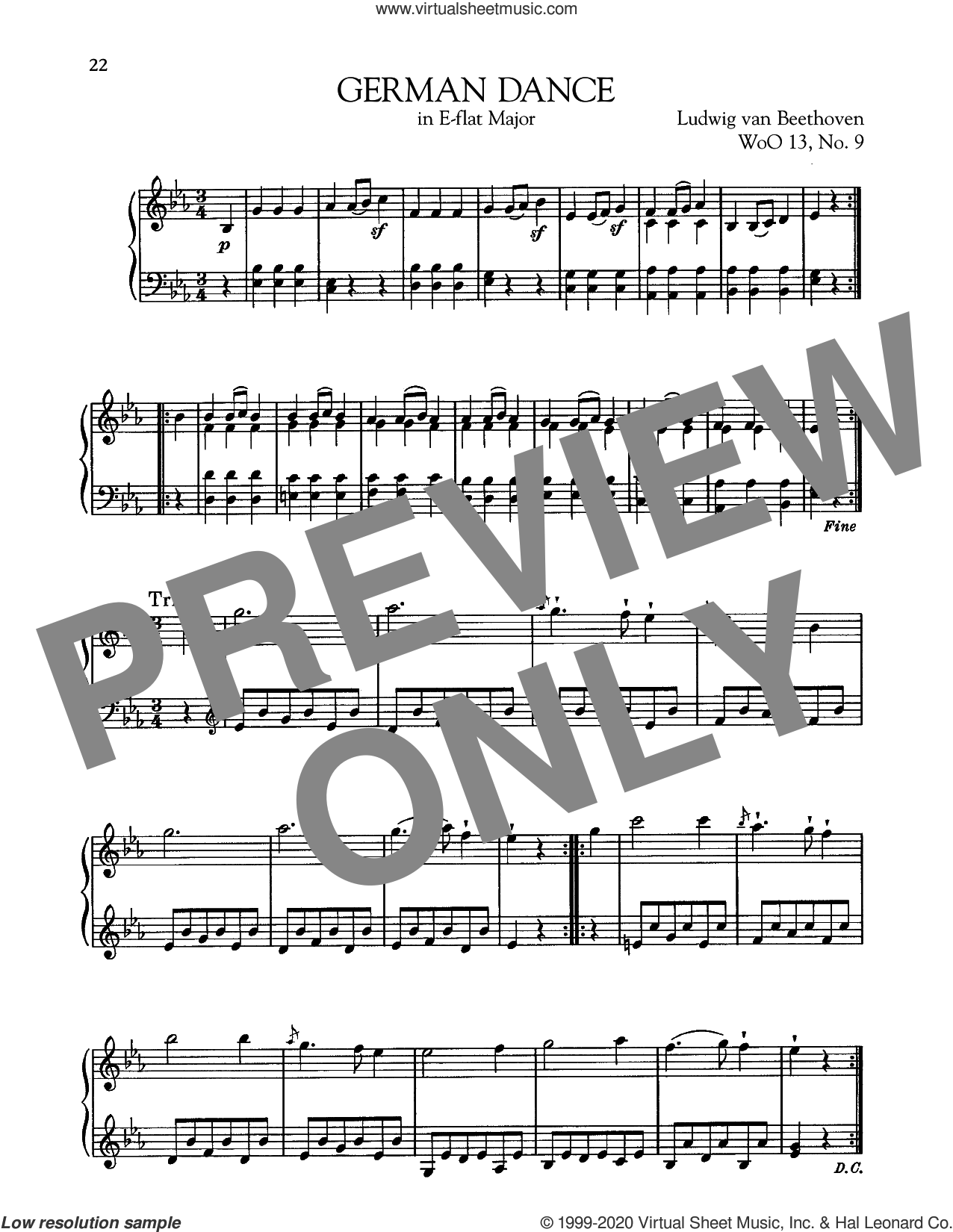 German Dance In E-Flat Major, WoO 13, No. 9 sheet music for piano solo by Ludwig van Beethoven, classical score, intermediate skill level