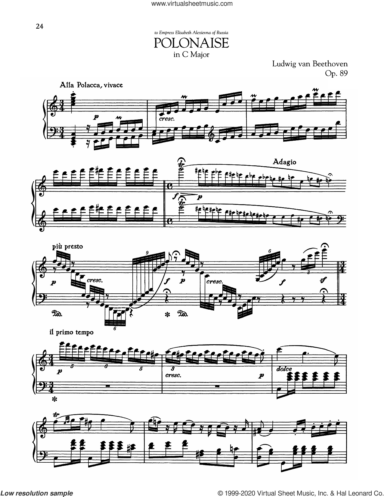 Polonaise, Op. 89 sheet music for piano solo by Ludwig van Beethoven, classical score, intermediate skill level