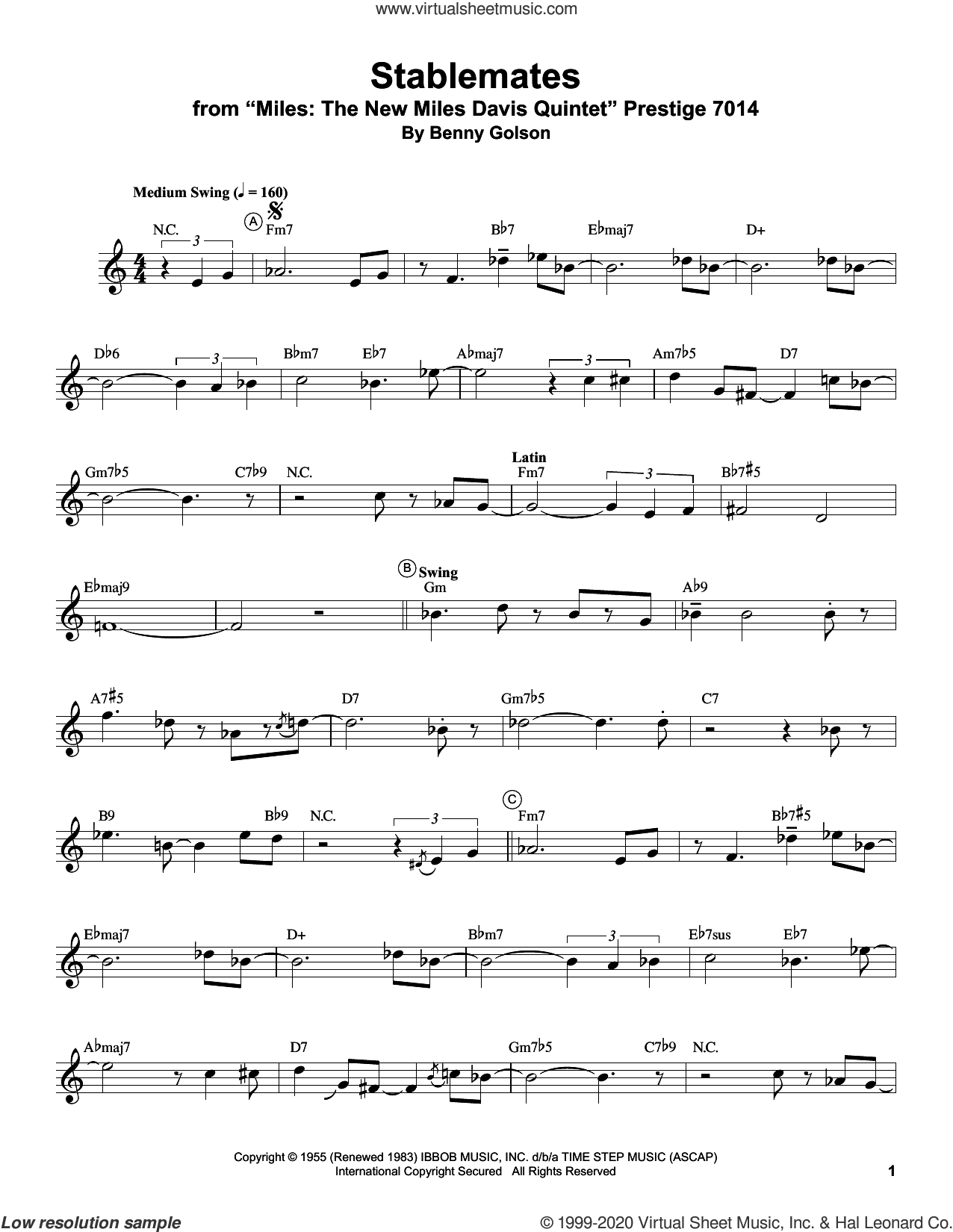 Stablemates sheet music for trumpet solo (transcription) by Miles Davis and Benny Golson, intermediate trumpet (transcription)
