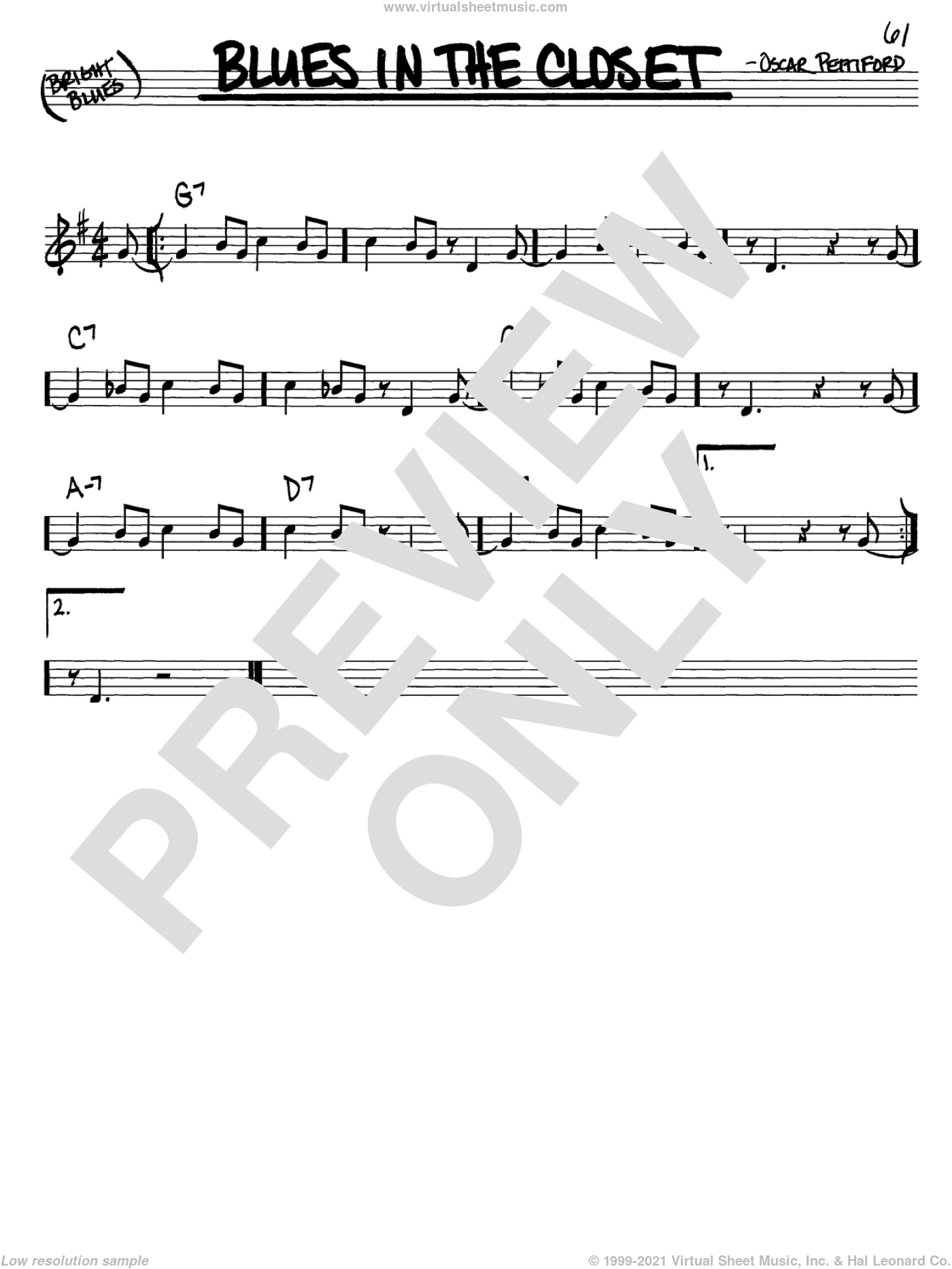 Blues In The Closet sheet music for voice and other instruments (in C) by Oscar Pettiford, intermediate skill level