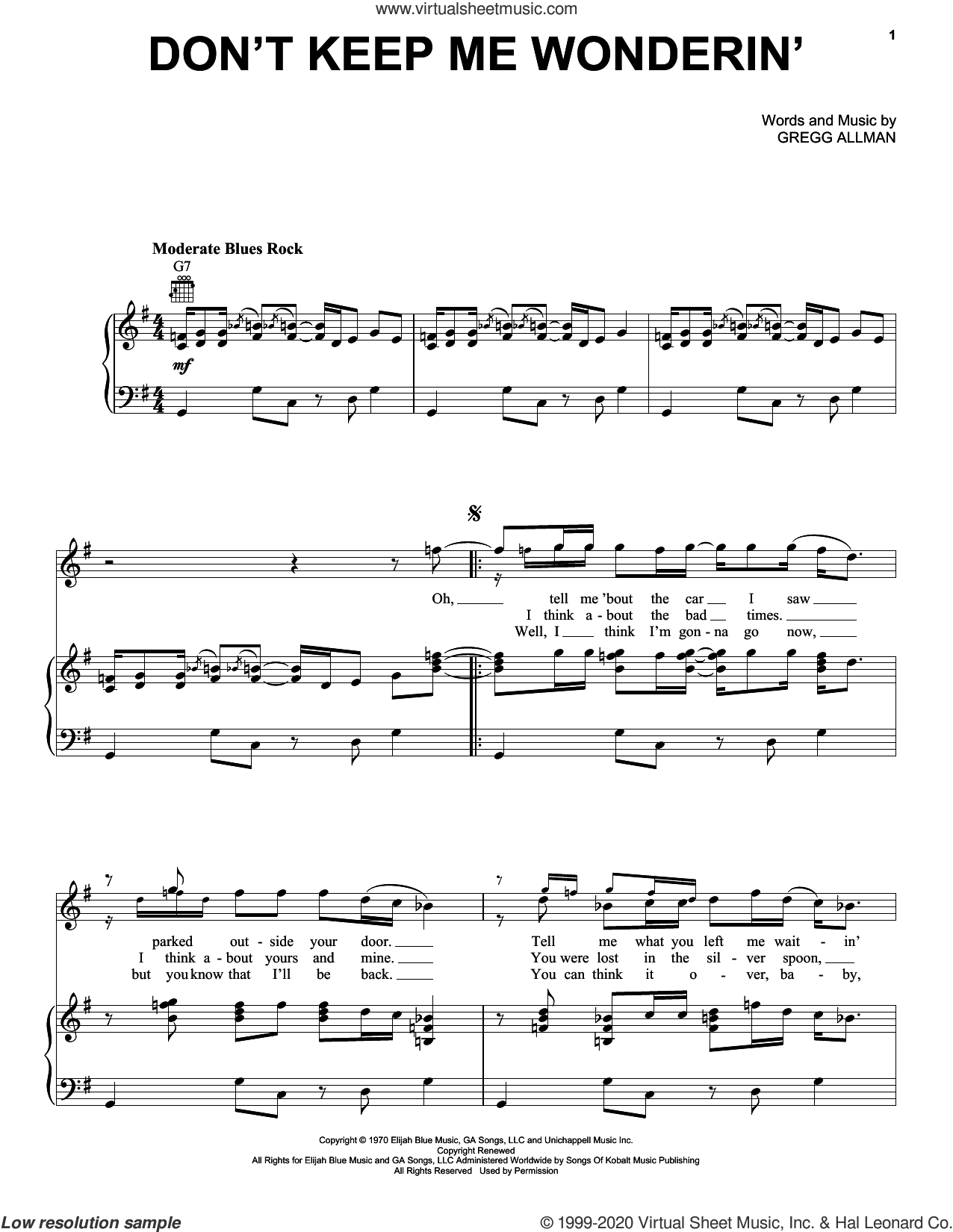 Don't Keep Me Wonderin' sheet music for voice, piano or guitar by The Allman Brothers Band and Gregg Allman, intermediate skill level