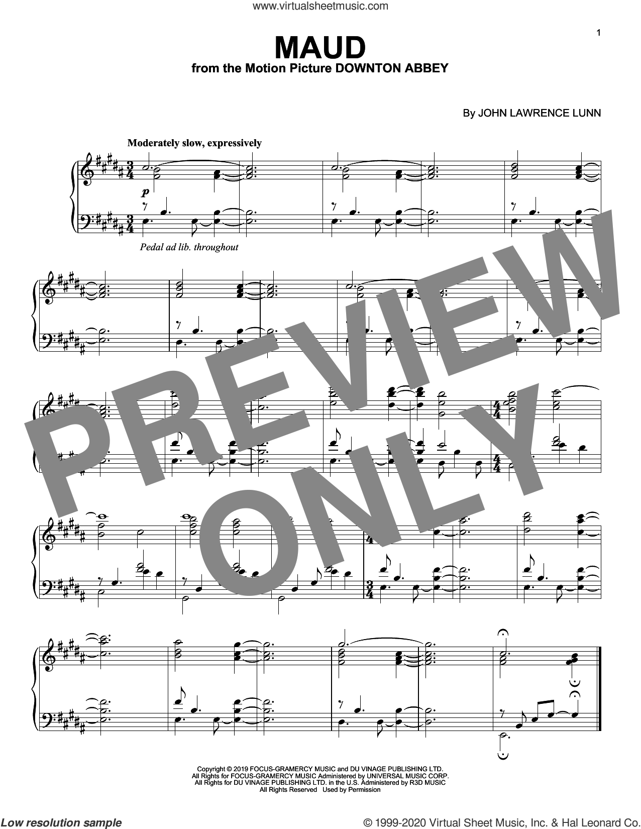 Maud (from the Motion Picture Downton Abbey) sheet music for piano solo by John Lunn, intermediate skill level