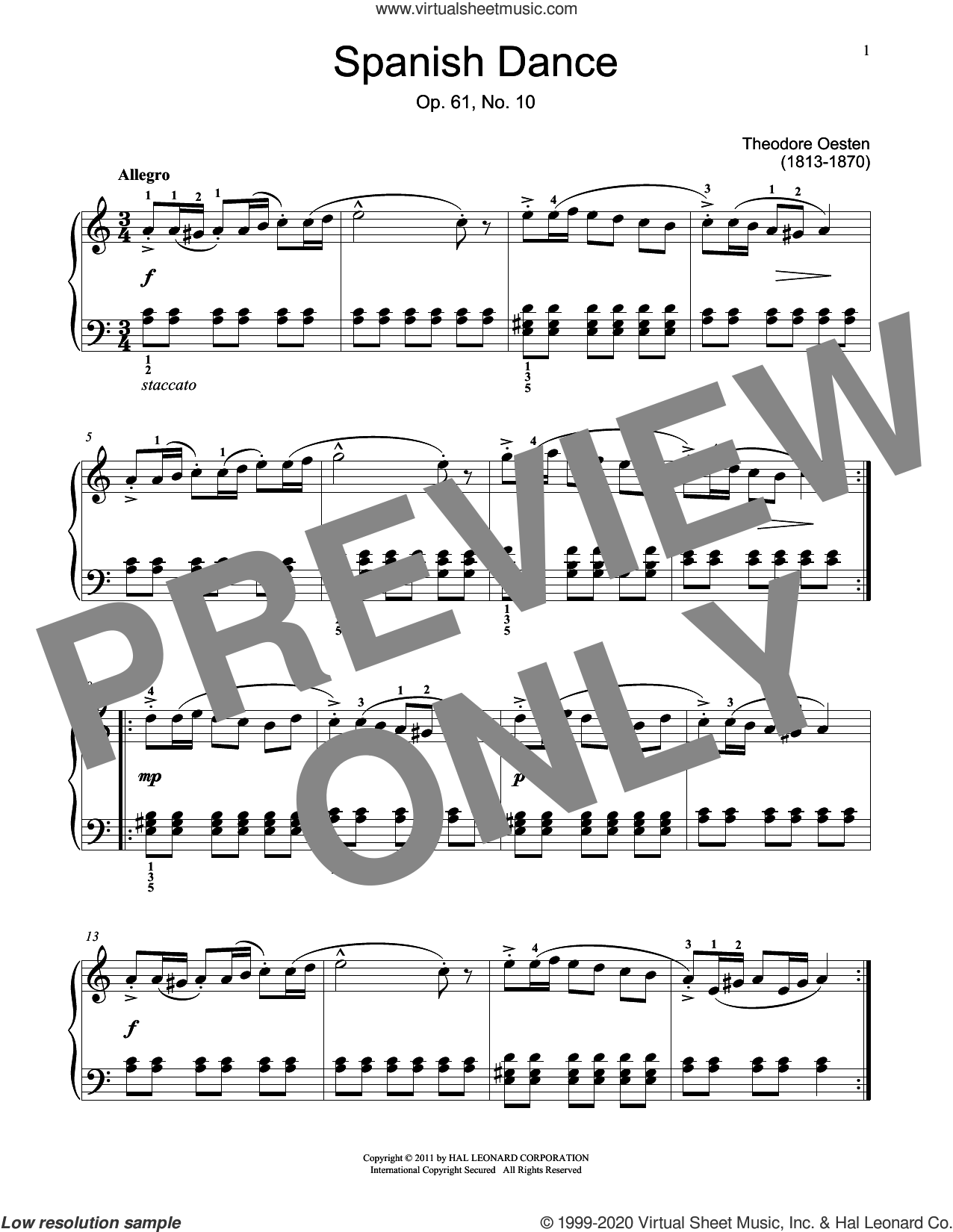 Spanish Dance sheet music for piano solo (elementary) by Theodor Oesten and Jennifer Linn, classical score, beginner piano (elementary)