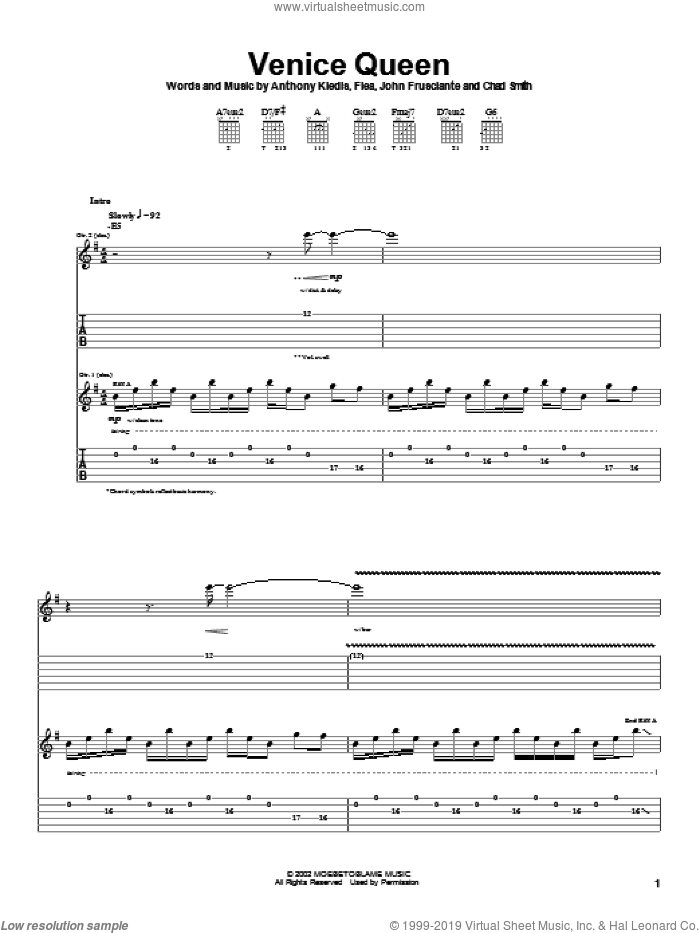 Venice Queen sheet music for guitar (tablature) by John Frusciante, Red Hot Chili Peppers and Flea. Score Image Preview.