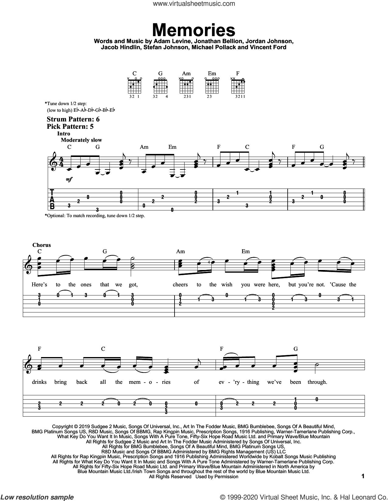 5 Memories Sheet Music For Guitar Solo Easy Tablature Pdf