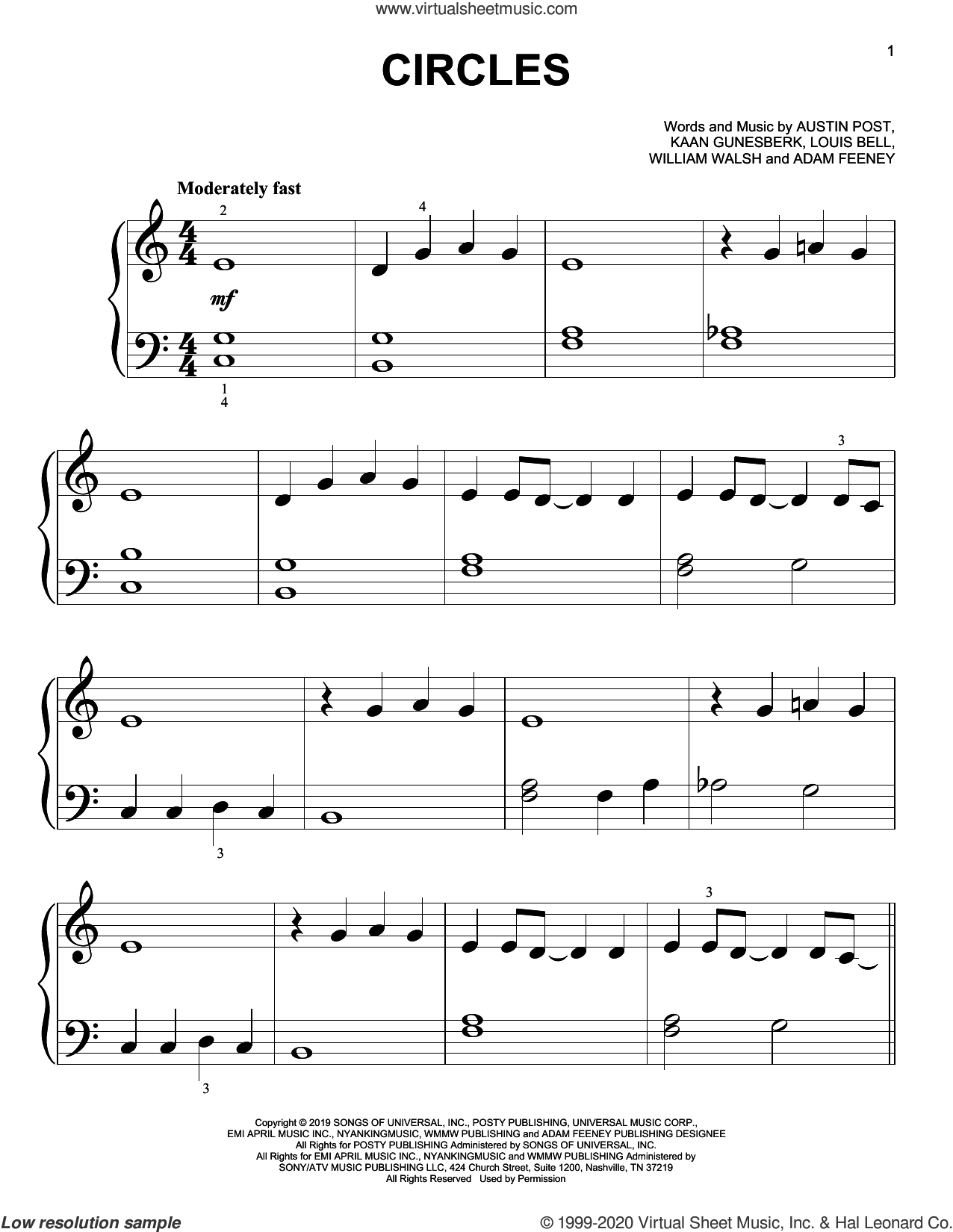 Circles sheet music for piano solo (big note book) by Post Malone, Adam Feeney, Austin Post, Kaan Gunesberk, Louis Bell and William Walsh, easy piano (big note book)