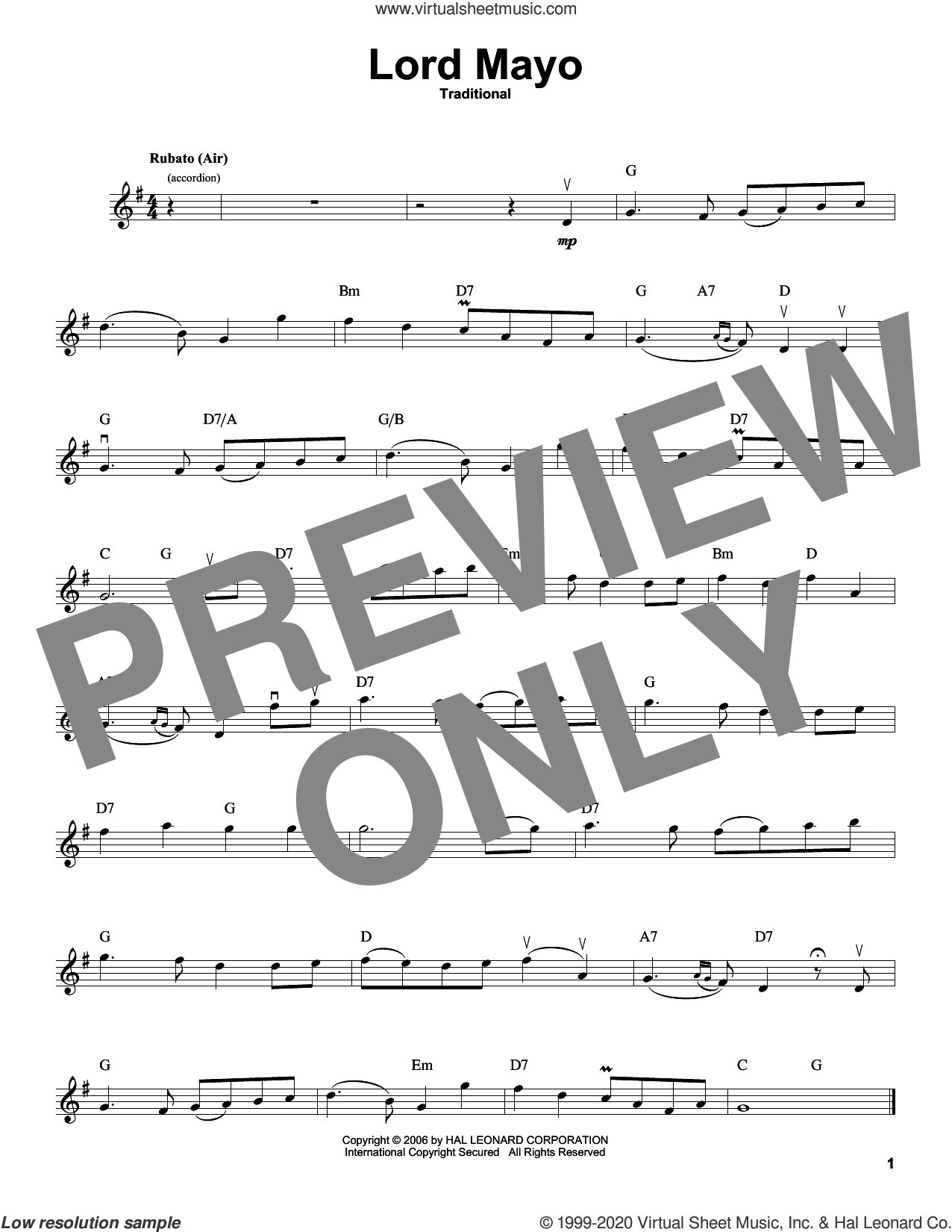 Lord Mayo (Tiarna Mhaigheo) sheet music for violin solo, intermediate skill level