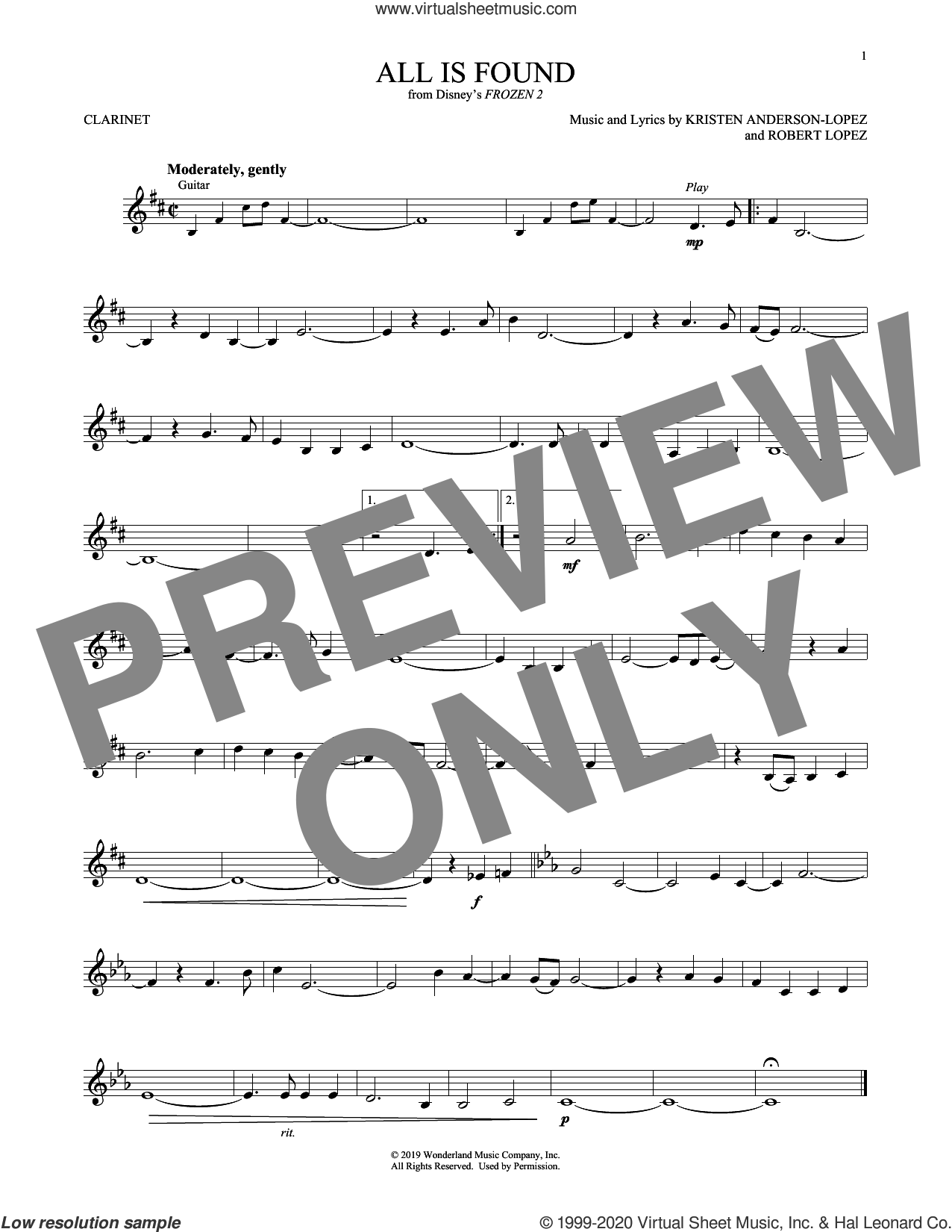 All Is Found (from Disney's Frozen 2) sheet music for clarinet solo by Evan Rachel Wood, Kristen Anderson-Lopez and Robert Lopez, intermediate skill level