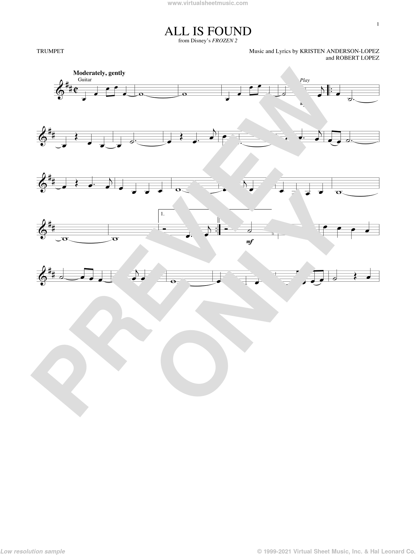 All Is Found (from Disney's Frozen 2) sheet music for trumpet solo by Evan Rachel Wood, Kristen Anderson-Lopez and Robert Lopez, intermediate skill level