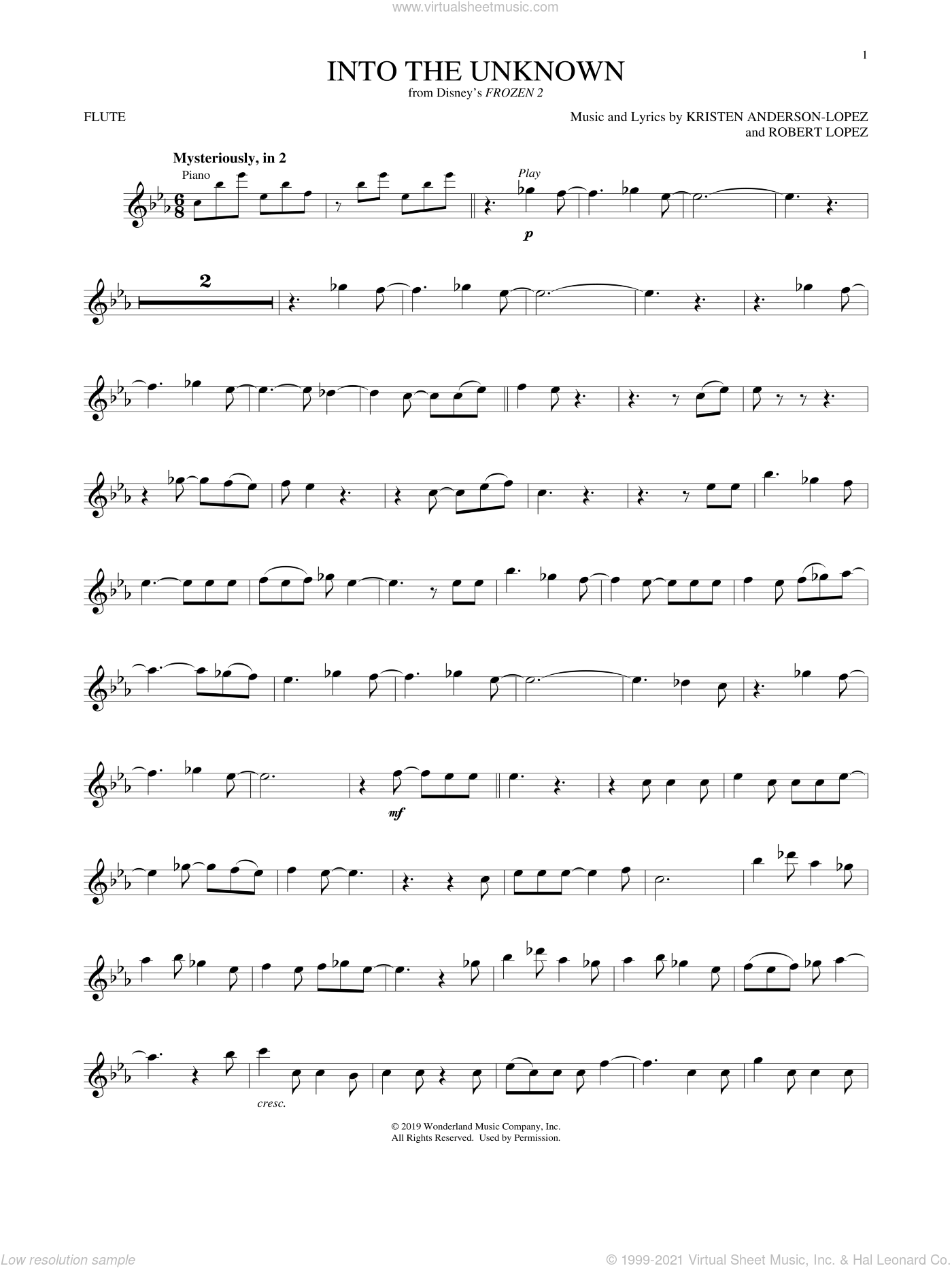 Into The Unknown (from Disney's Frozen 2) sheet music for flute solo by Idina Menzel and AURORA, Kristen Anderson-Lopez and Robert Lopez, intermediate skill level