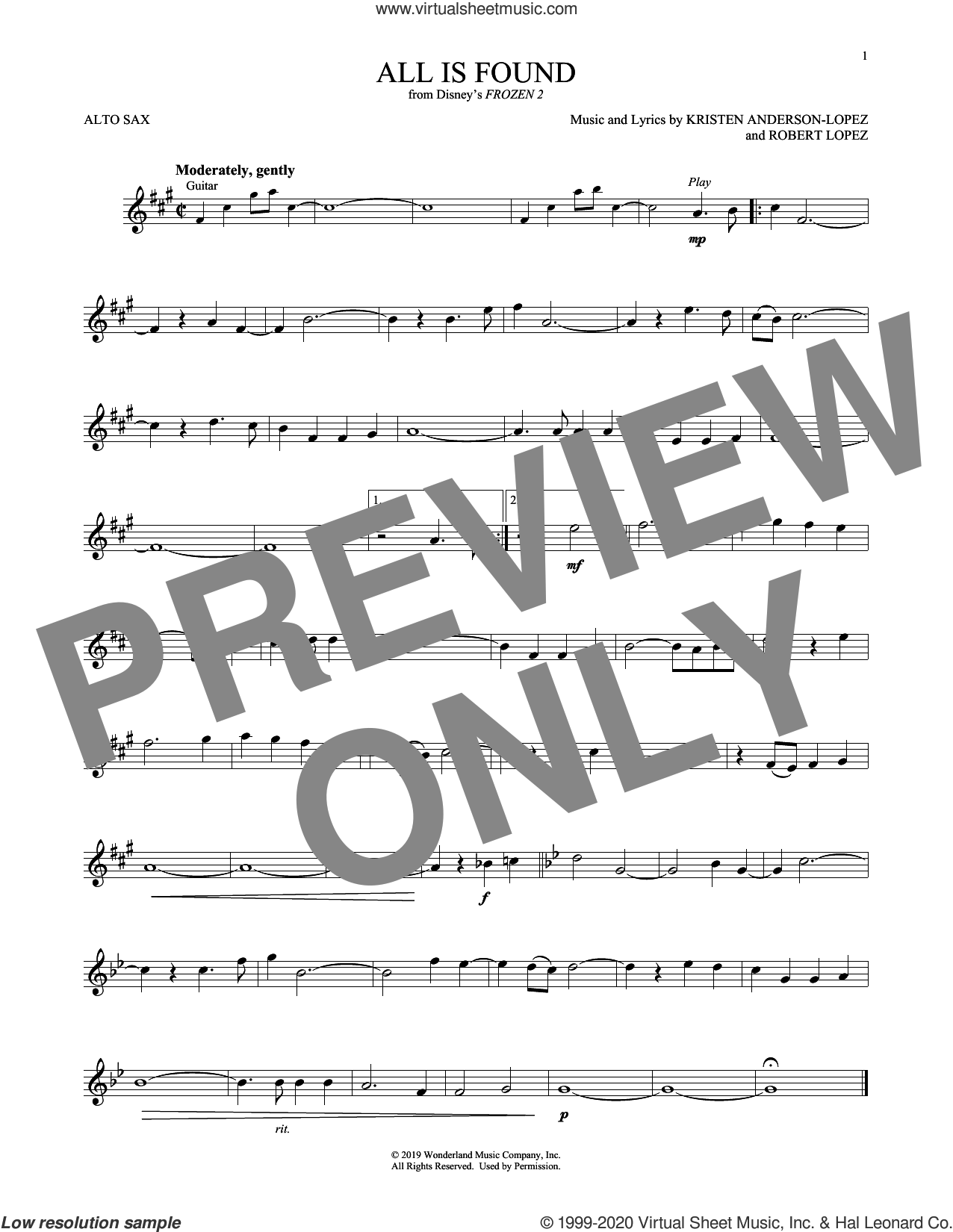 All Is Found (from Disney's Frozen 2) sheet music for alto saxophone solo by Evan Rachel Wood, Kristen Anderson-Lopez and Robert Lopez, intermediate skill level