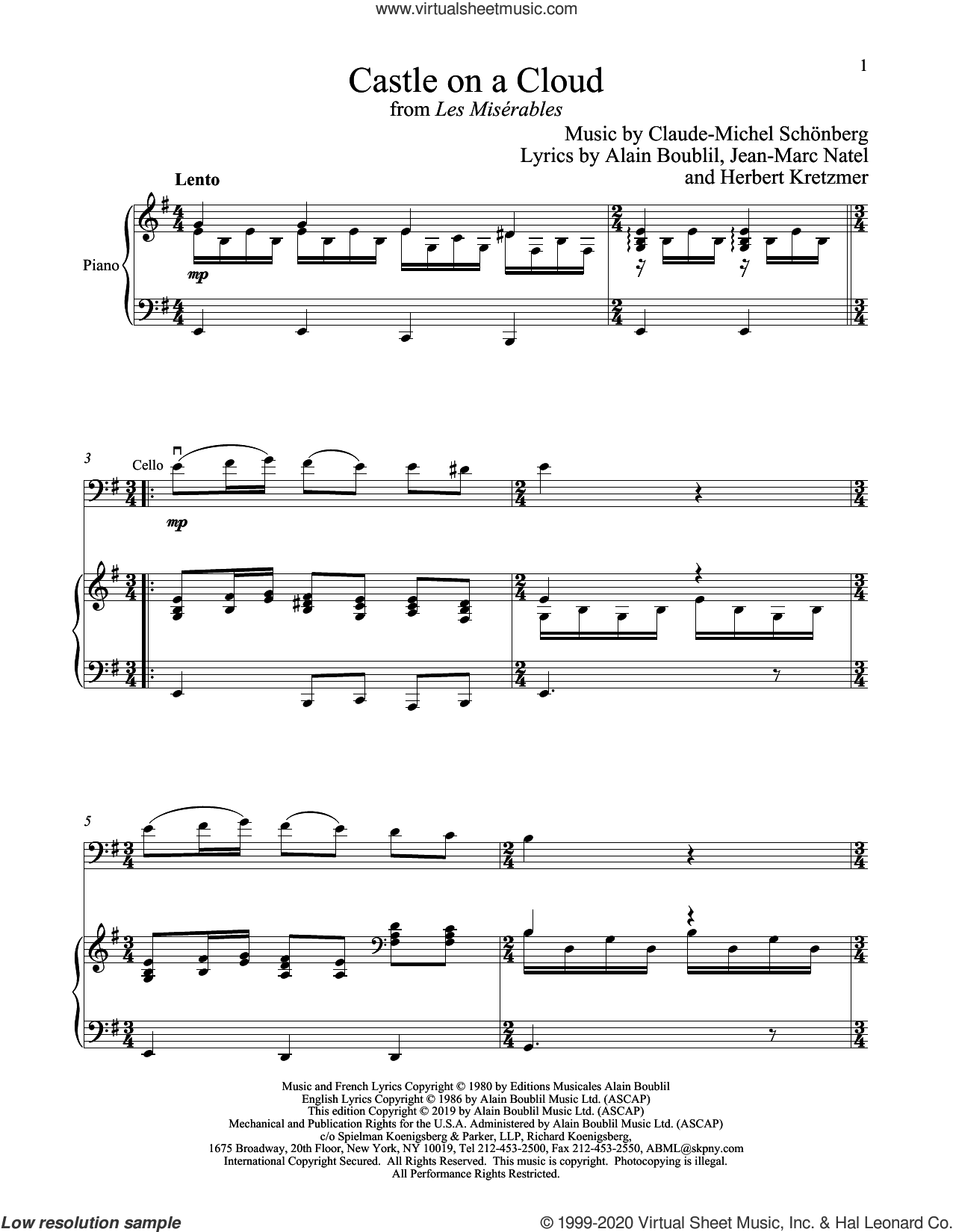 Castle On A Cloud (from Les Miserables) sheet music for cello and piano by Alain Boublil, Boublil and Schonberg, Claude-Michel Schonberg, Herbert Kretzmer and Jean-Marc Natel, intermediate skill level