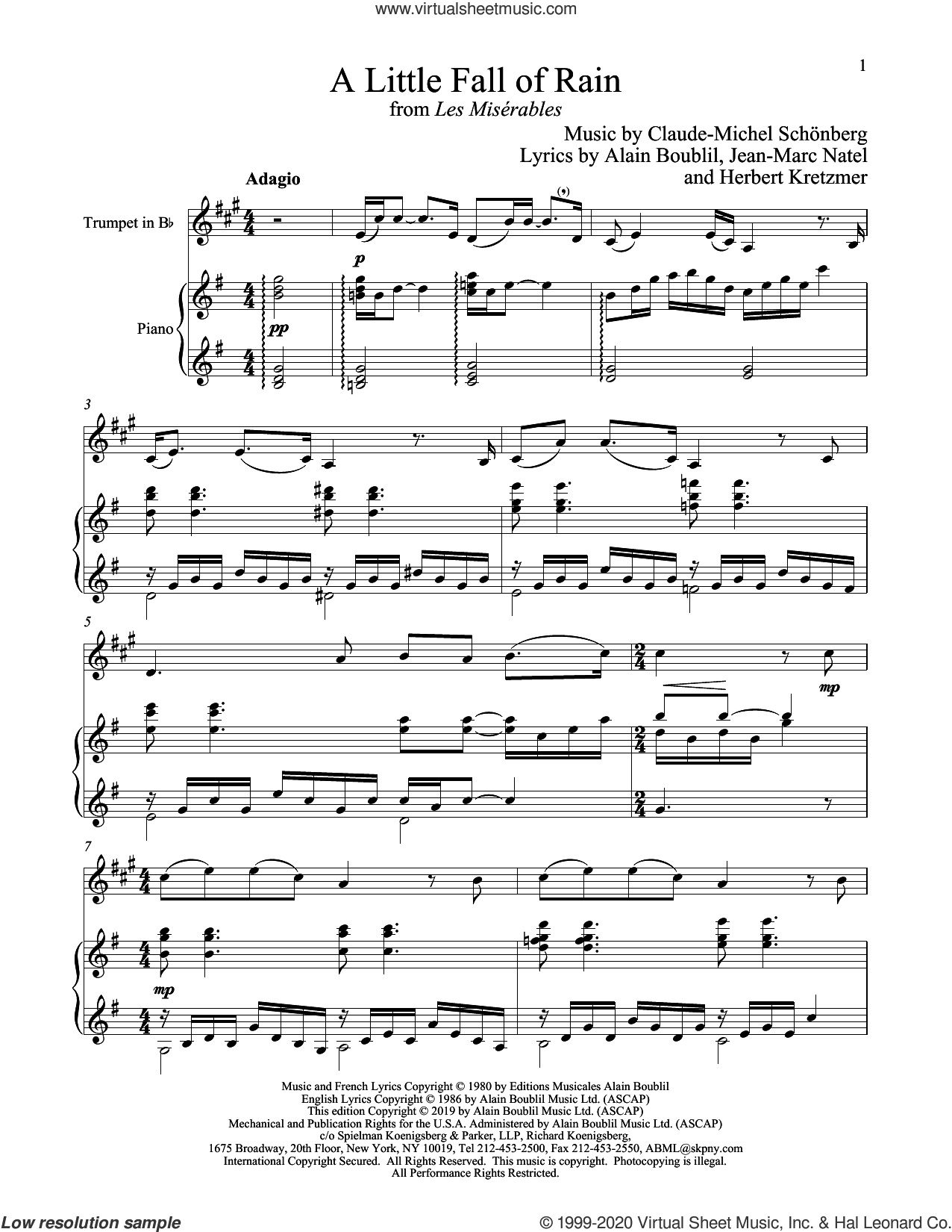 A Little Fall Of Rain (from Les Miserables) sheet music for trumpet and piano by Alain Boublil, Boublil and Schonberg, Claude-Michel Schonberg, Claude-Michel Schonberg, Herbert Kretzmer and Jean-Marc Natel, intermediate skill level
