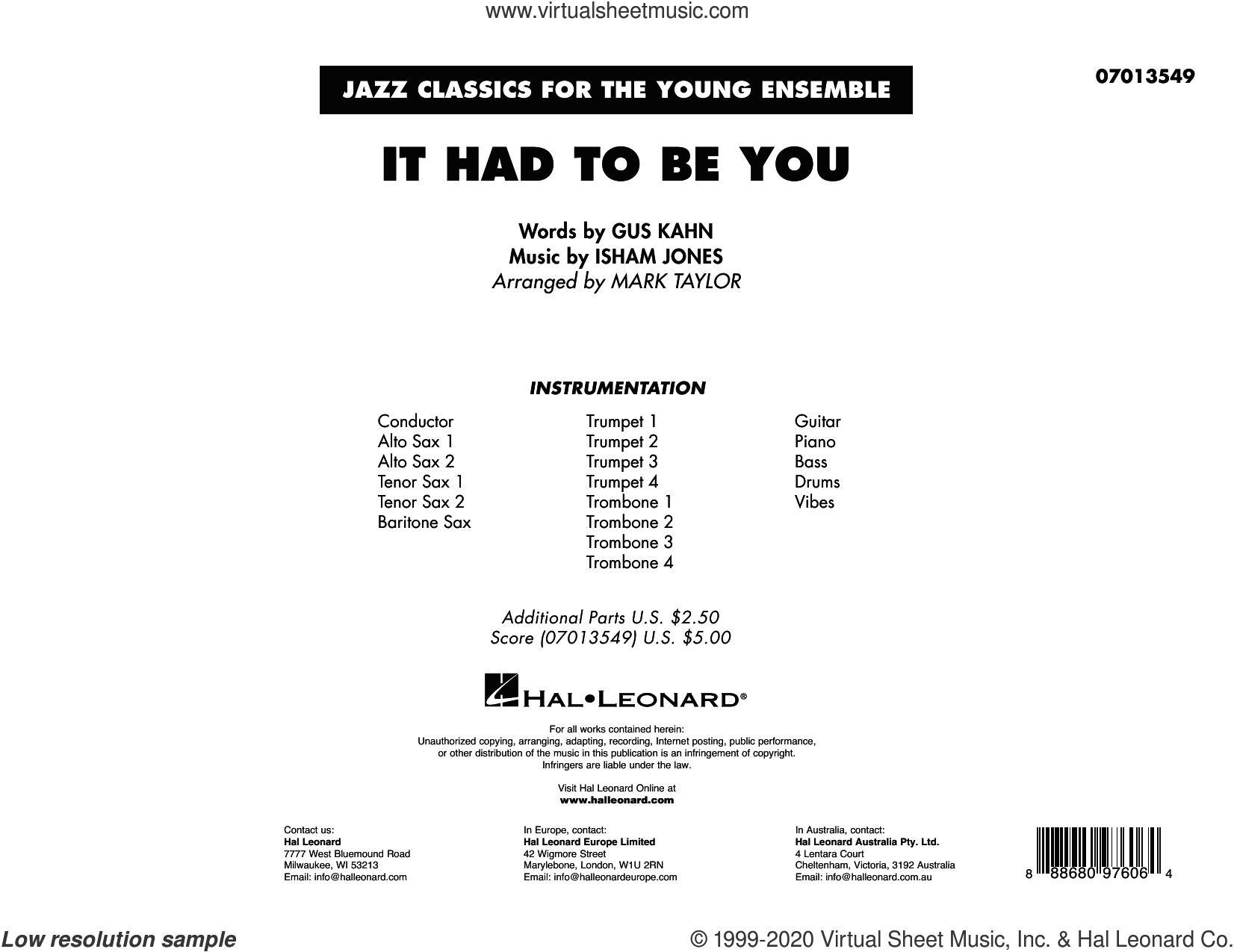 It Had to Be You (arr. Mark Taylor) (COMPLETE) sheet music for jazz band by Gus Kahn, Isham Jones, Isham Jones and Gus Kahn and Mark Taylor, intermediate skill level