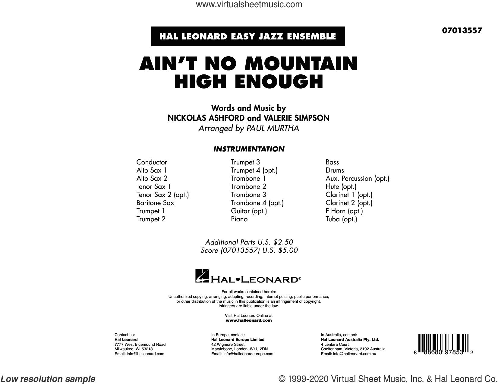 Ain't No Mountain High Enough (arr. Paul Murtha) (COMPLETE) sheet music for jazz band by Paul Murtha, Marvin Gaye & Tammi Terrell, Nickolas Ashford and Valerie Simpson, intermediate skill level