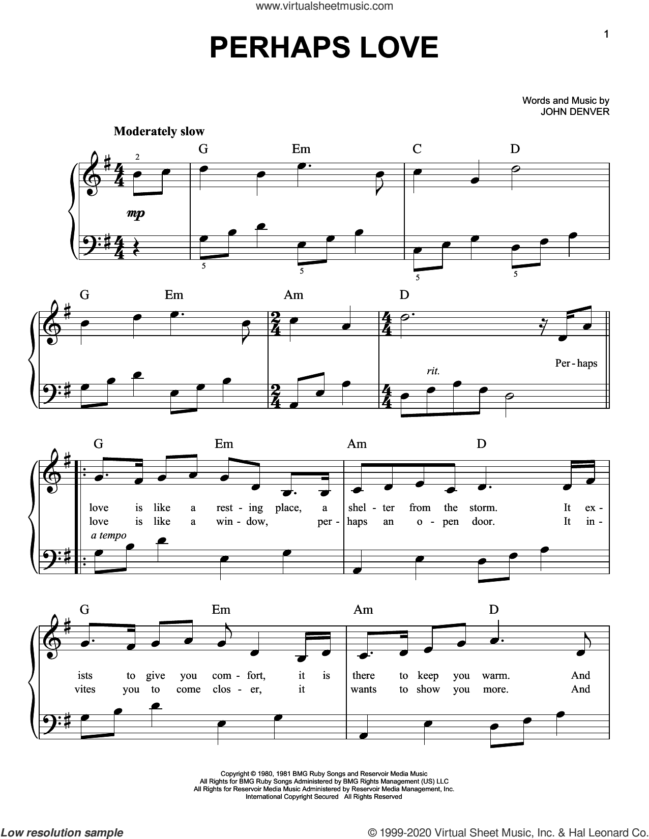 Perhaps Love, (beginner) sheet music for piano solo by John Denver and Placido Domingo and John Denver, wedding score, beginner skill level