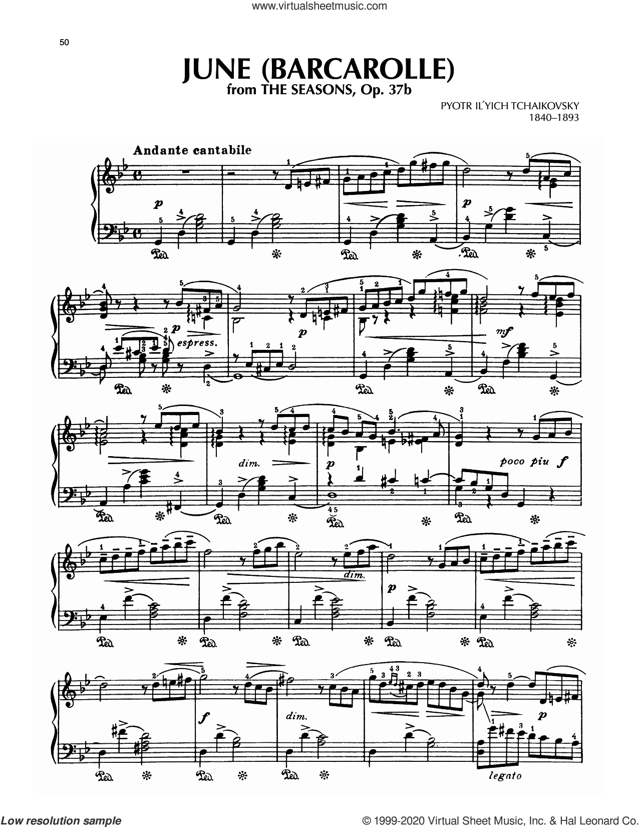 June: Barcarolle, Op. 37a/b sheet music for piano solo by Pyotr Ilyich Tchaikovsky, classical score, intermediate skill level