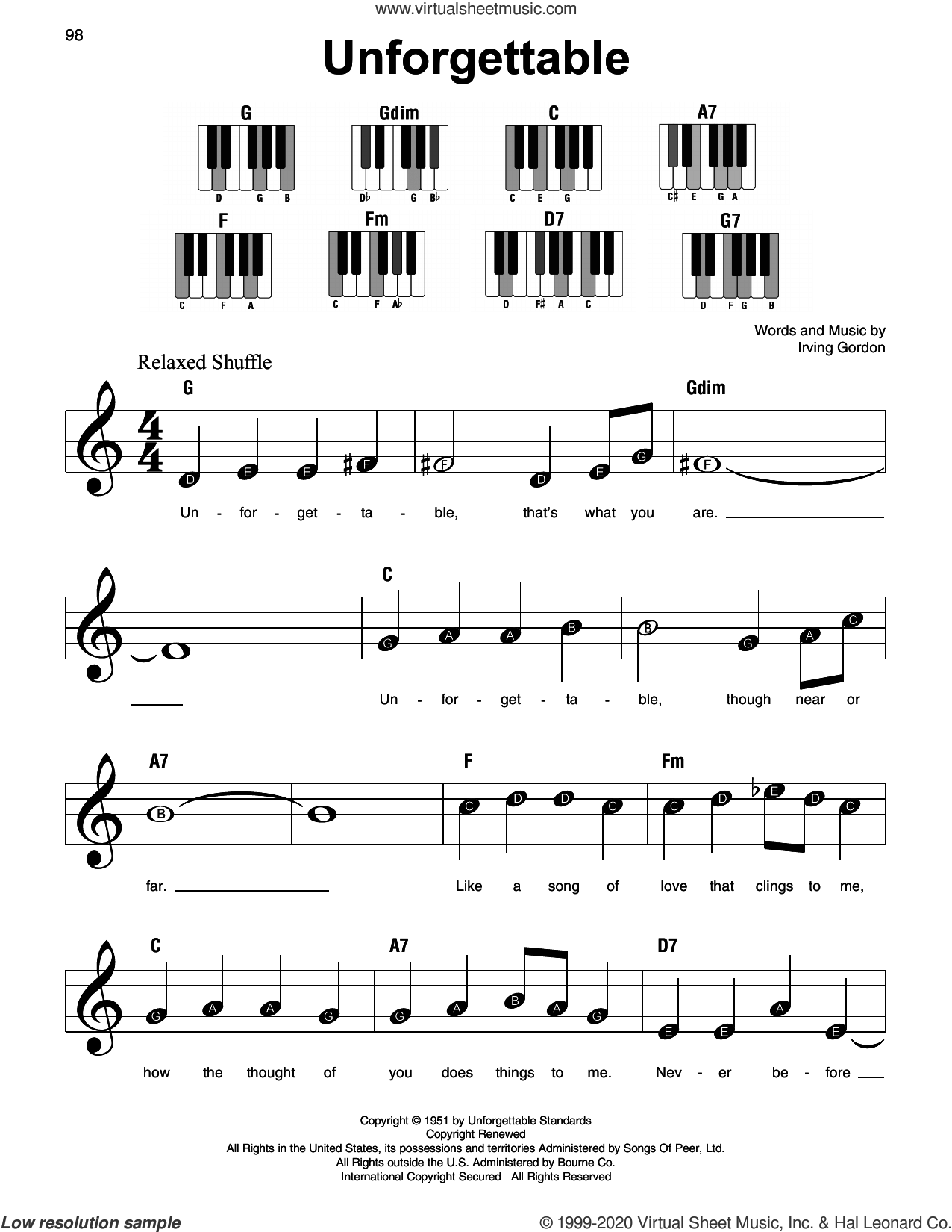 Unforgettable sheet music for piano solo by Nat King Cole and Irving Gordon, beginner skill level