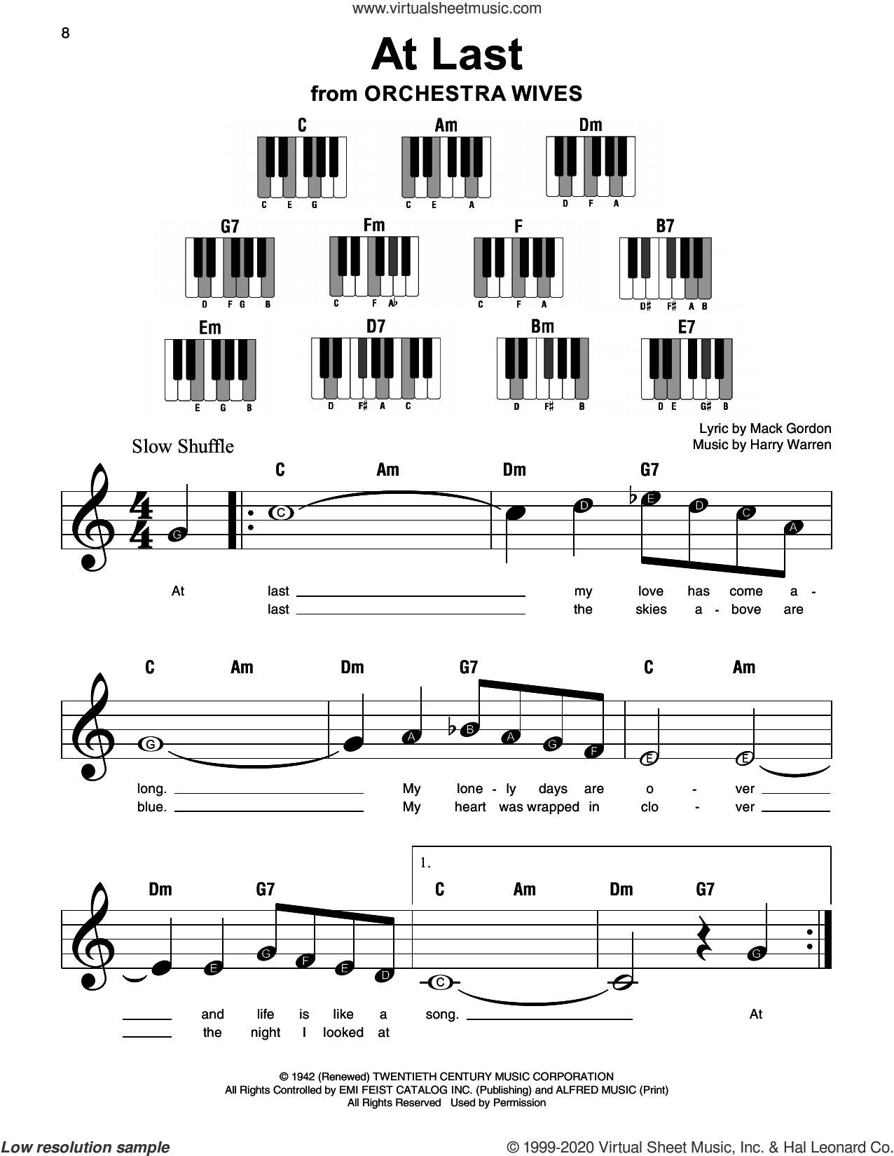 At Last sheet music for piano solo by Etta James, Harry Warren and Mack Gordon, beginner skill level