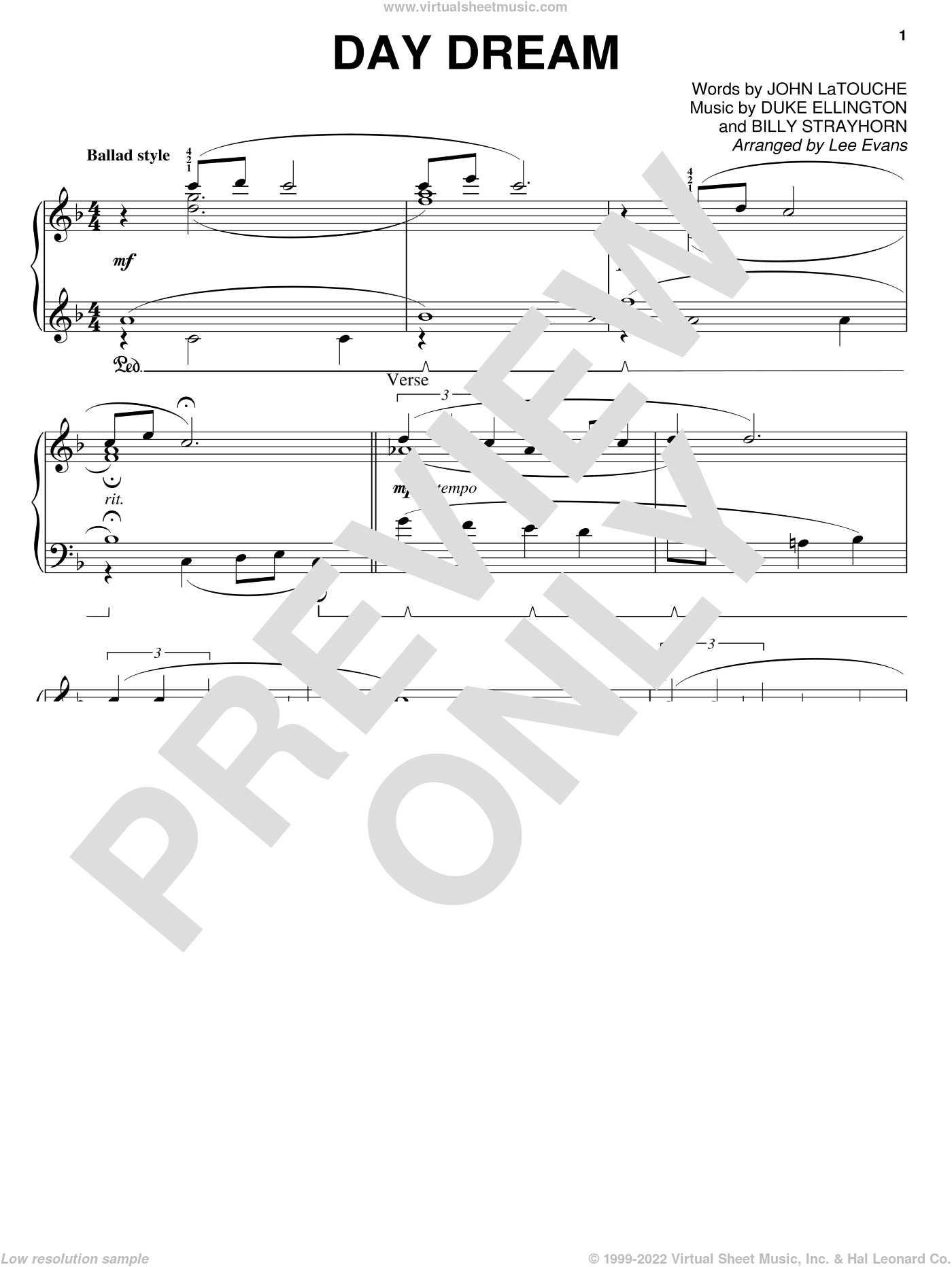 Day Dream sheet music for piano solo by John Latouche, Lee Evans, Billy Strayhorn and Duke Ellington. Score Image Preview.