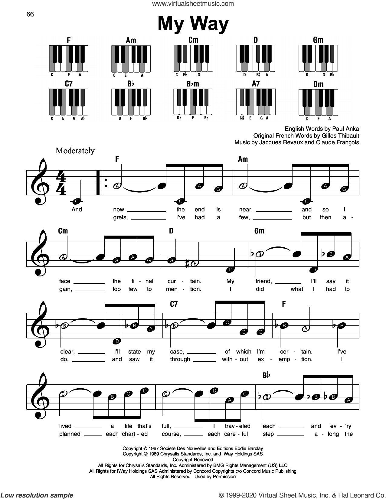 My Way sheet music for piano solo by Frank Sinatra, Claude Francois, Gilles Thibault, Jacques Revaux and Paul Anka, beginner skill level